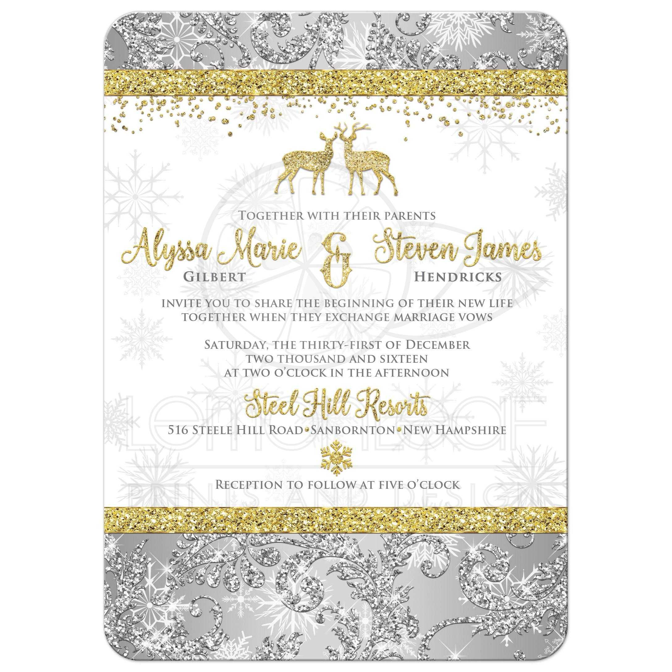 gold and white snowflakes and glitter damask pattern winter wonderland wedding invitations with - White And Gold Wedding Invitations