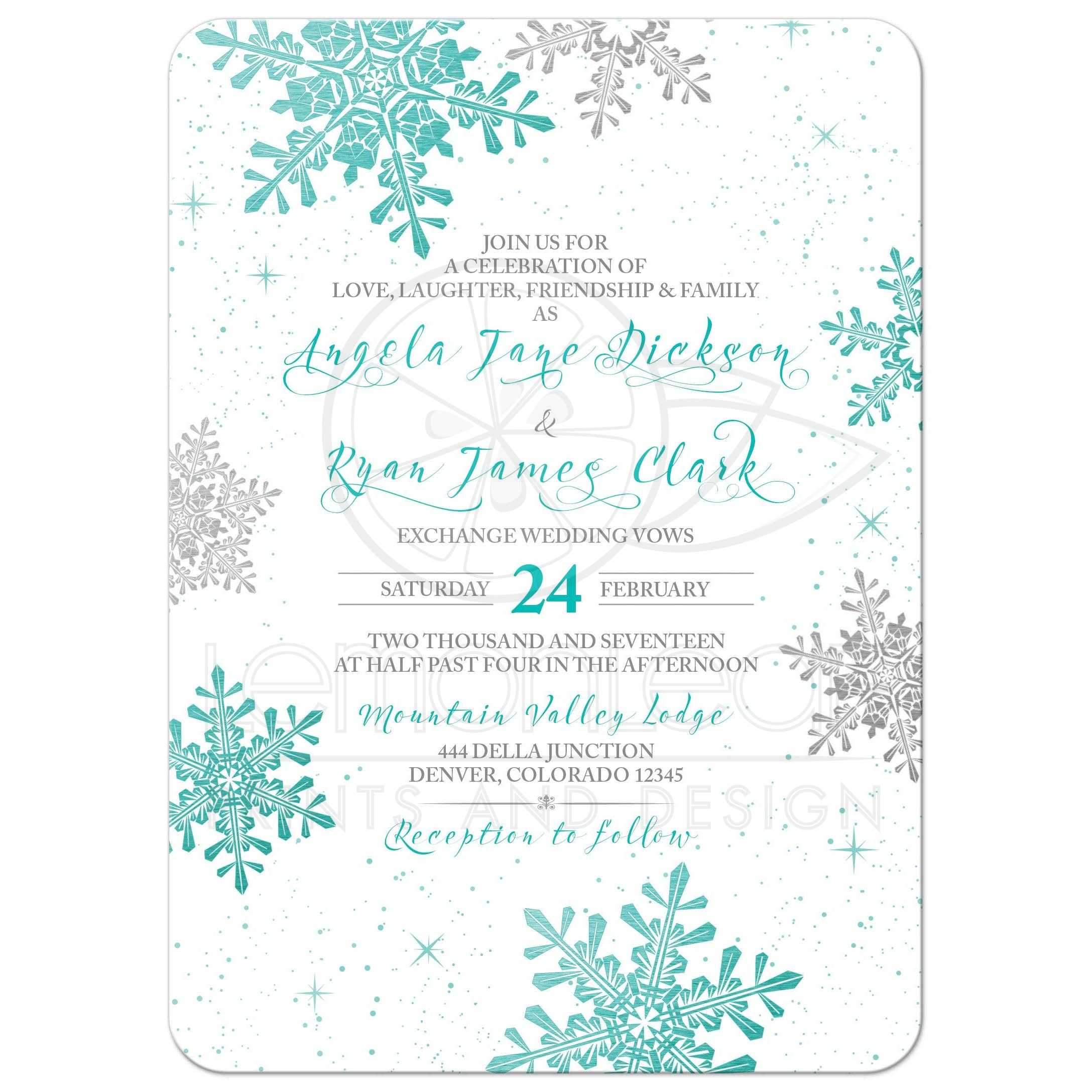 Winter Wedding Invitation Turquoise Silver Snowflake
