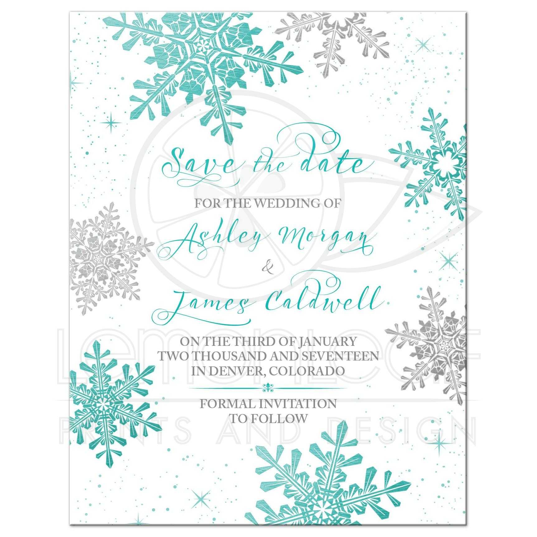 Winter Wedding Save the Date Card Turquoise Silver Snowflake