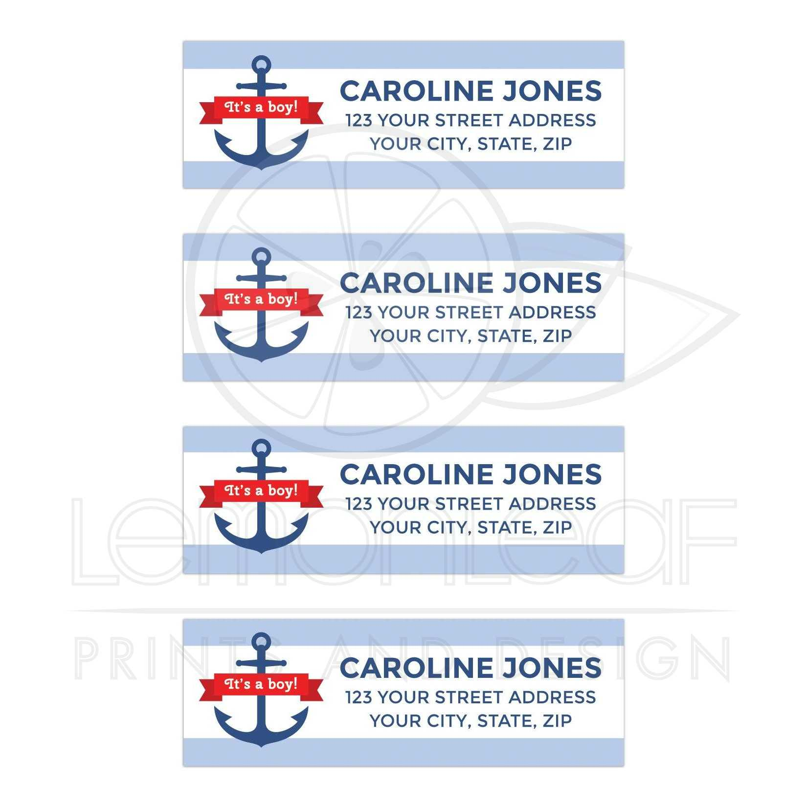 nautical anchor and light blue stripes baby shower return address