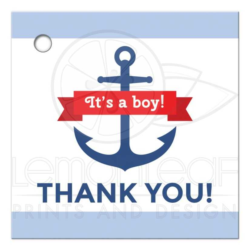 nautical anchor baby shower favor thank you tag with blue borders, Baby shower