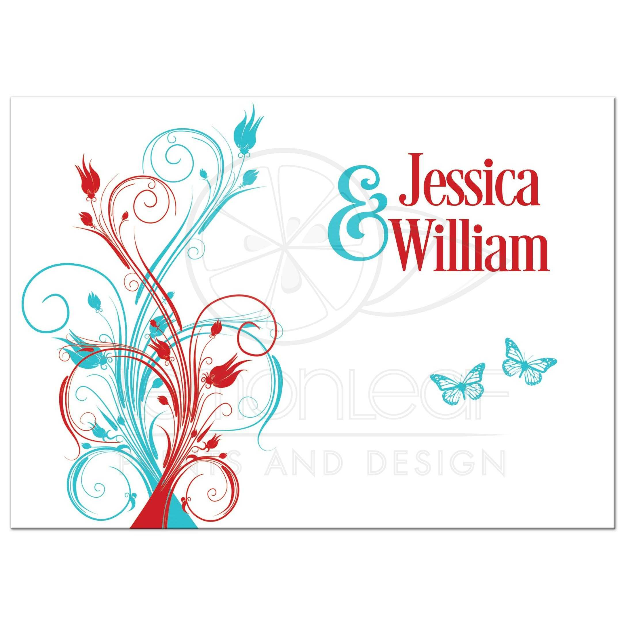 Red, Turquoise Blue, And White Wedding Invitation With Butterflies,  Flowers, Vines, ...