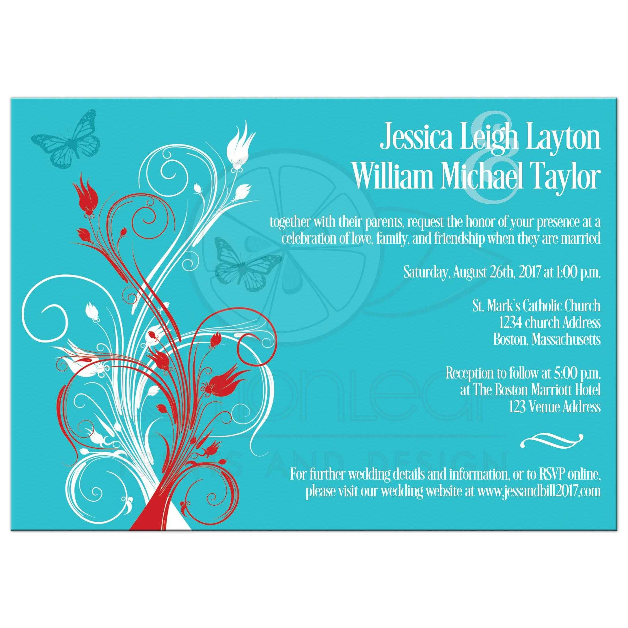 Wedding Invitation | Turquoise, Red, White Floral, Butterflies