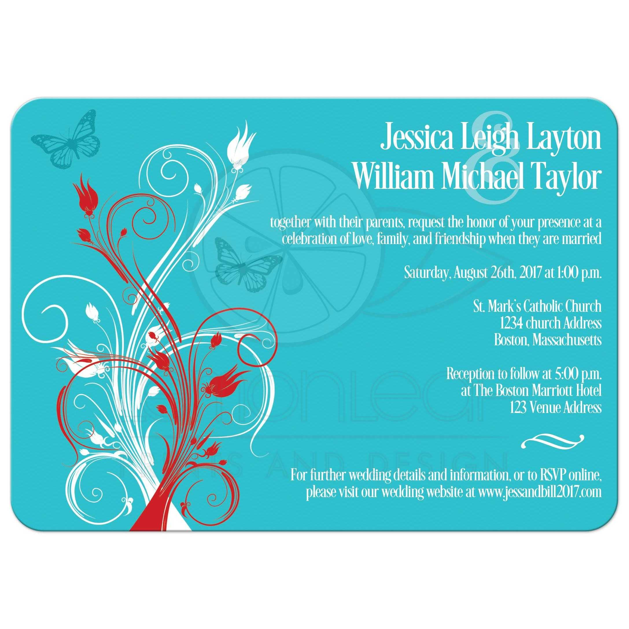 Red Aqua Or Teal Blue And White Wedding Invites With Butterflies Flowers