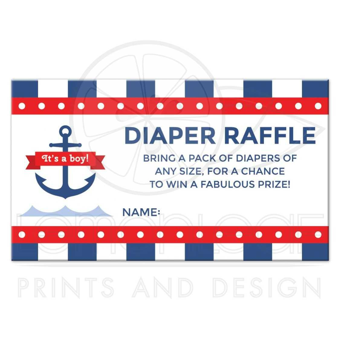 Nautical baby shower diaper raffle ticket with anchor and dark blue stripes | It's a boy!