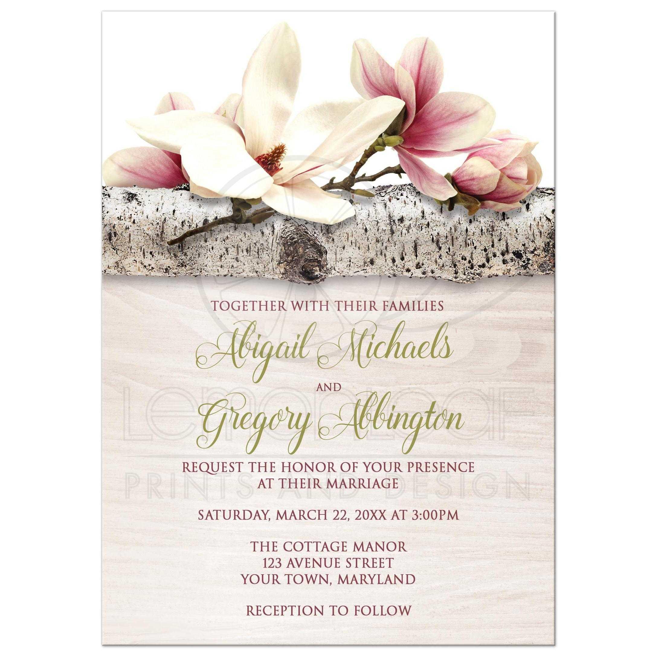 44139rectanglemagnoliabirchlightwoodfloralweddinginvitationst1460646160: Rustic Wood Floral Wedding Invitations At Reisefeber.org