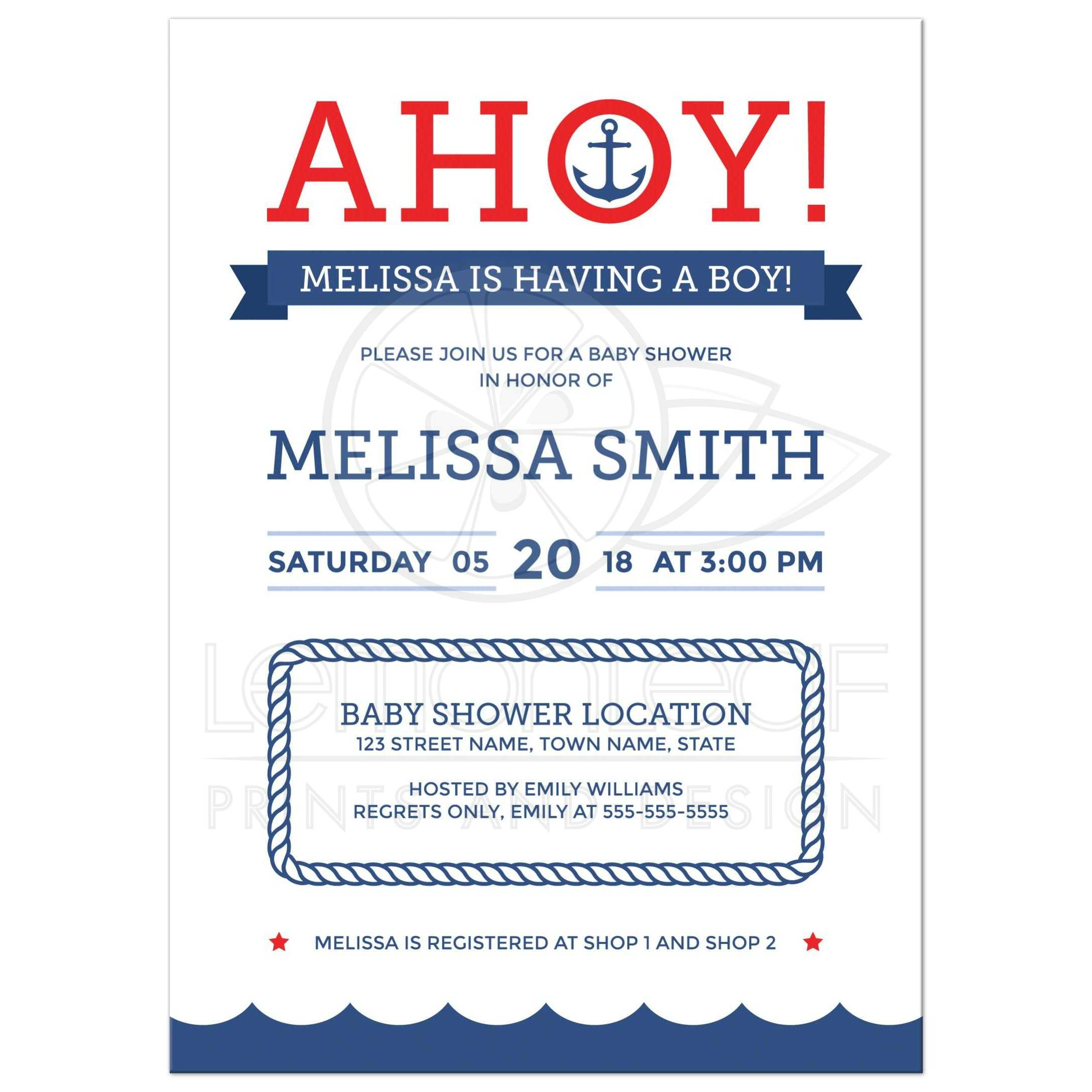 Ahoy nautical baby shower invitation with anchor red and blue ahoy nautical baby shower invitation with anchor and blue wave border filmwisefo Images