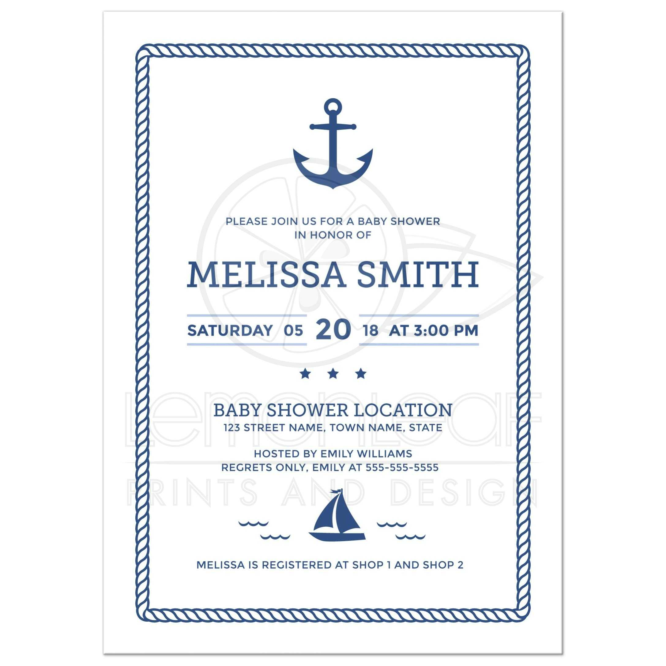 Nautical baby shower invitation with anchor sailboat and rope