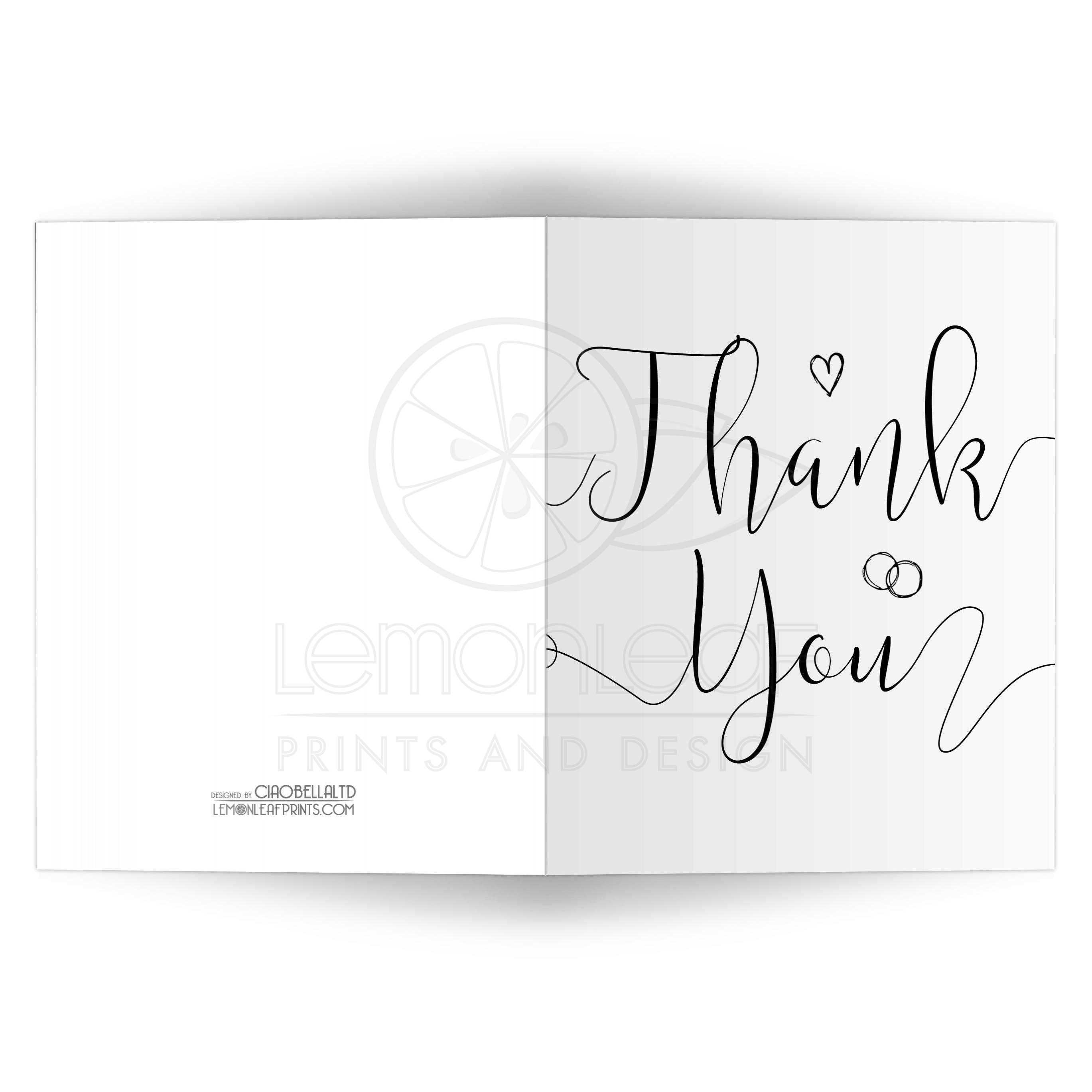 Modern calligraphy thank you card