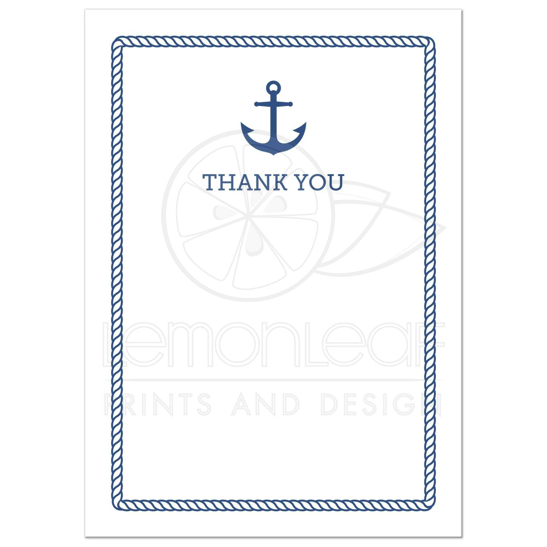 Nautical baby shower thank you card with anchor and rope border