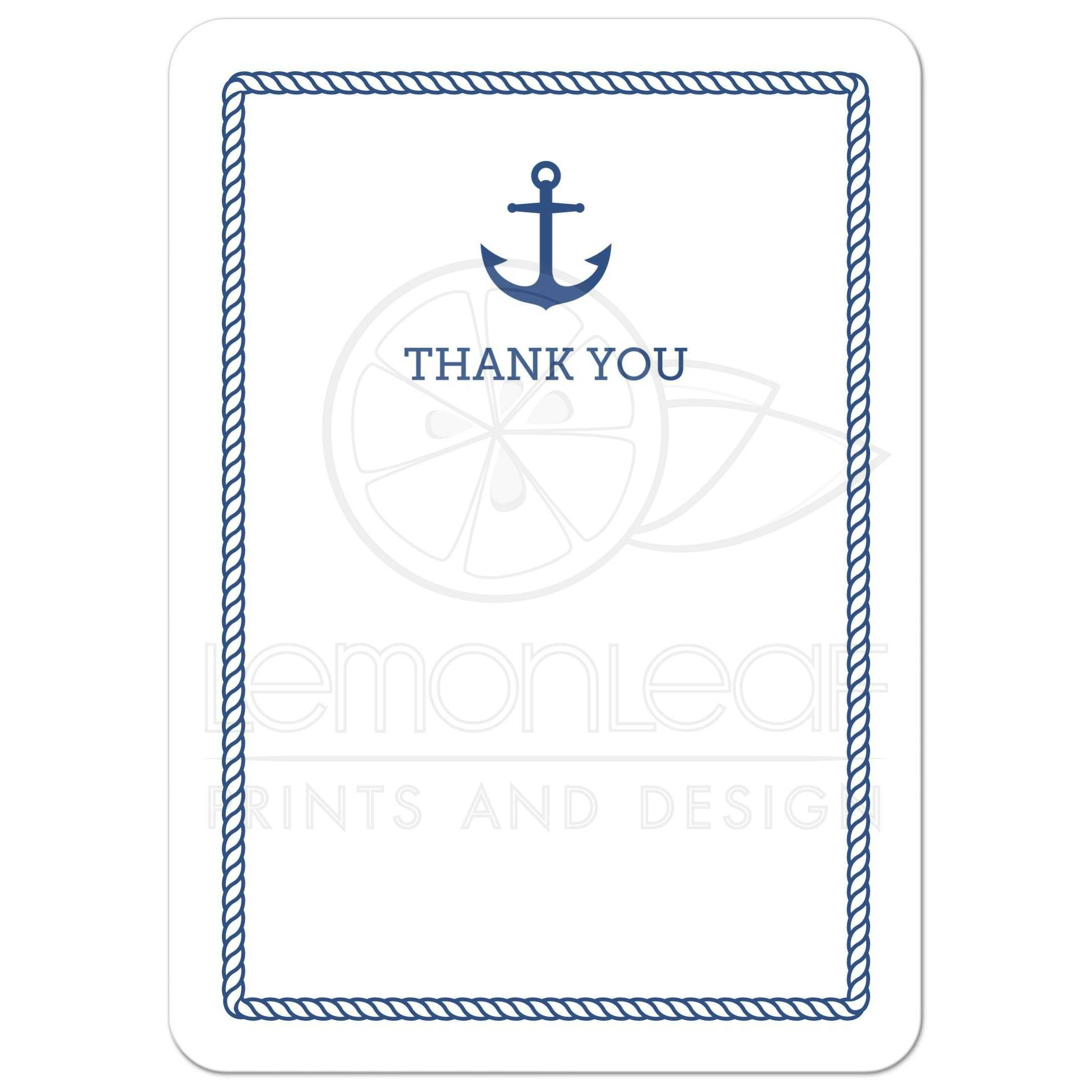 Nautical Baby Shower Thank You Card With Anchor And Rope