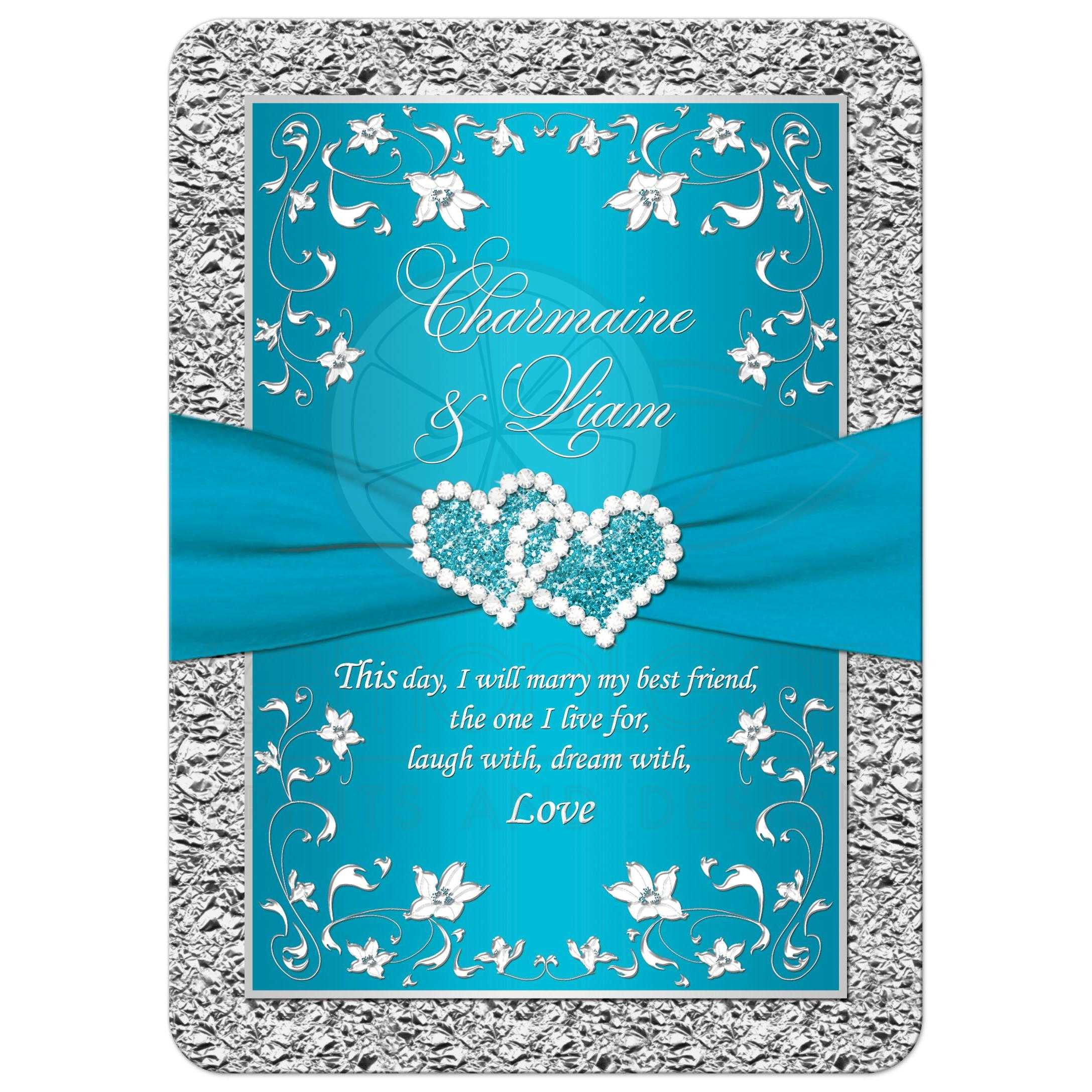 Wedding Invitations Turquoise: Turquoise, Silver Floral