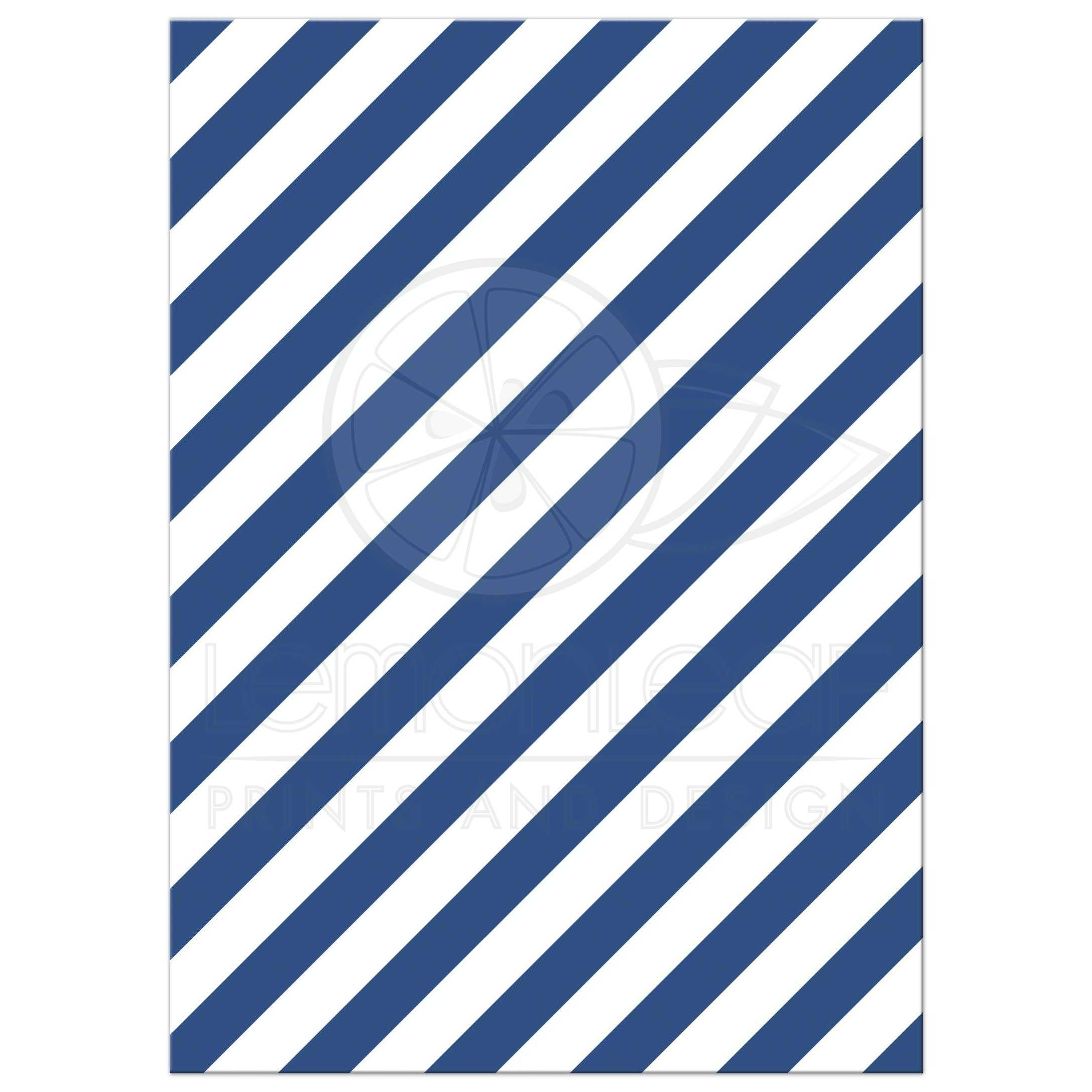 diagonal blue striped pattern back of nautical baby shower invite with anchor and sailboat
