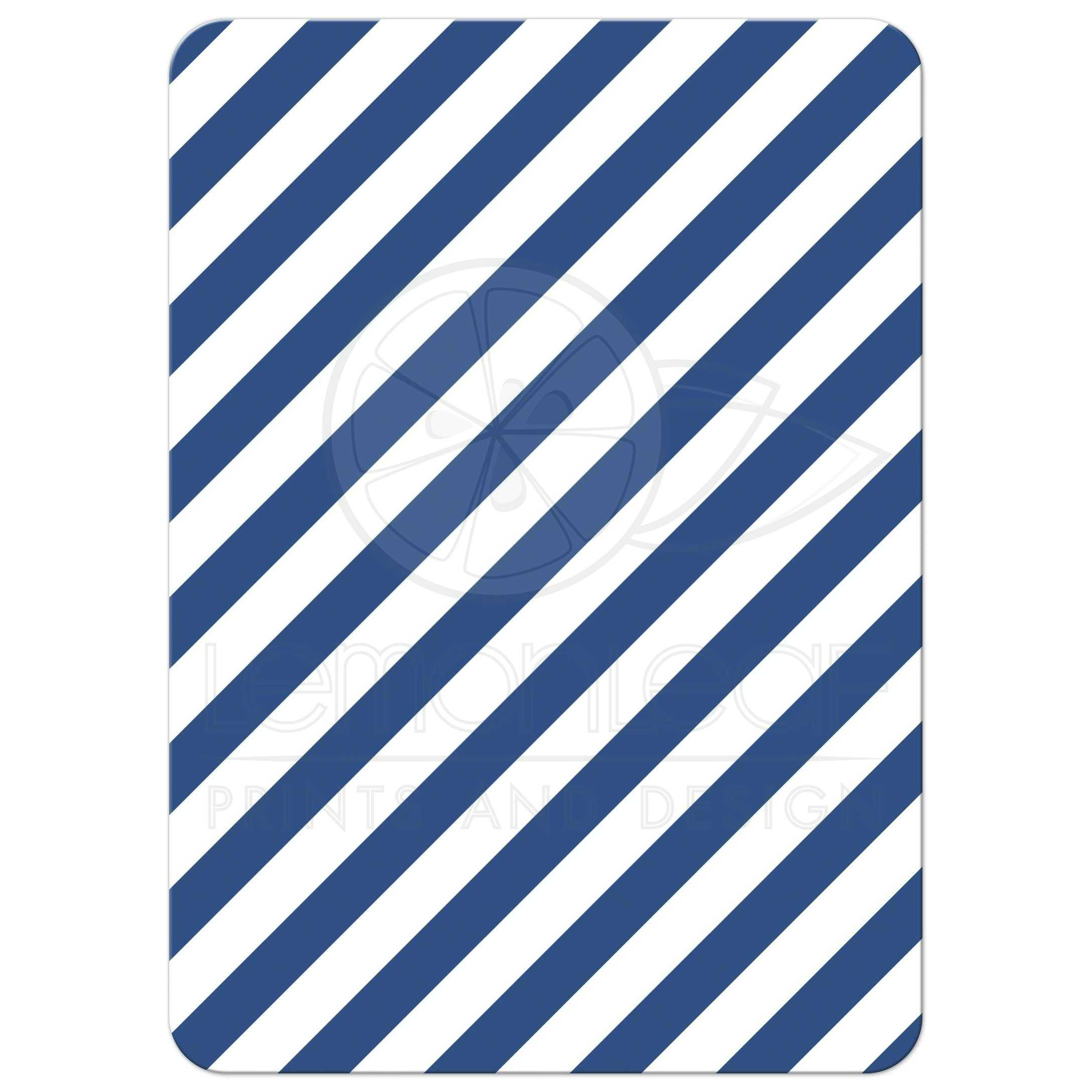 ... Diagonal Blue Striped Pattern, Back Of Nautical Baby Shower Invite With  Anchor And Sailboat
