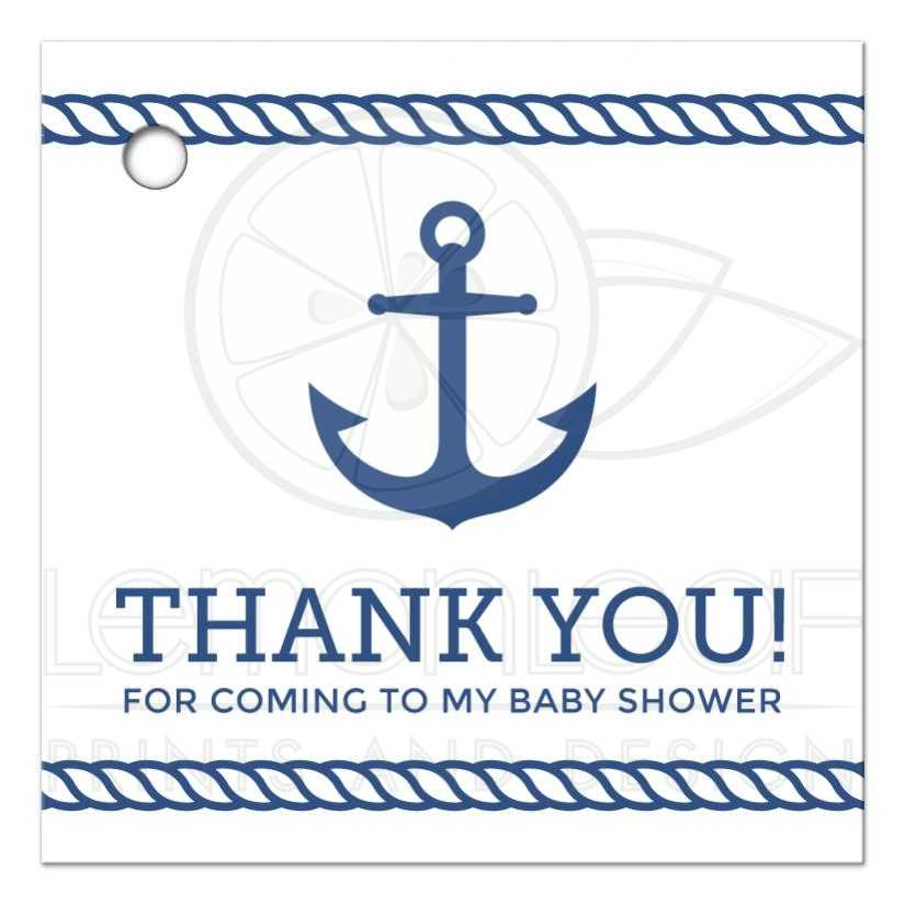 Nautical Baby Shower Favor Tag With Anchor And Rope Borders Classy