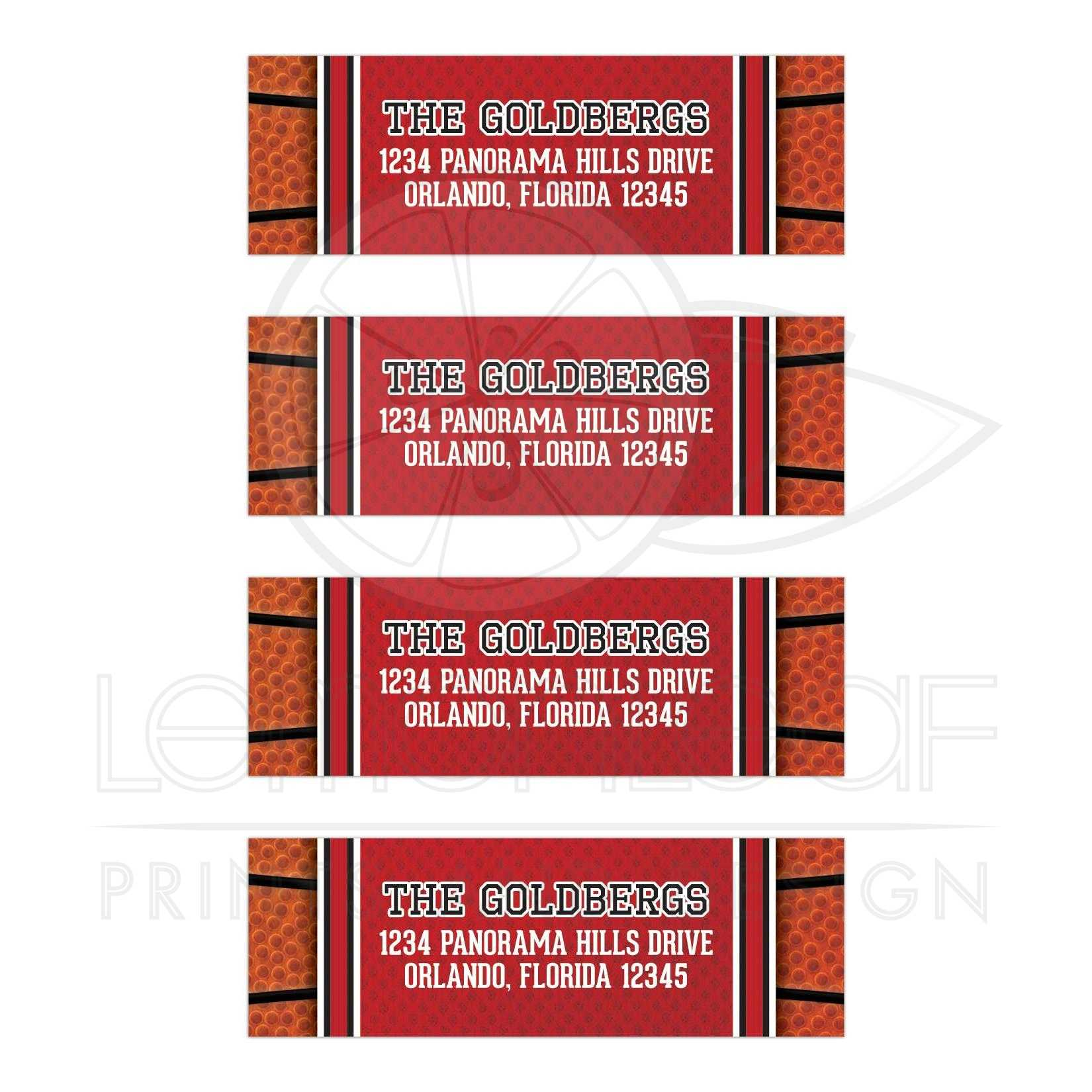 basketball bar mitzvah personalized address labels jersey ball red