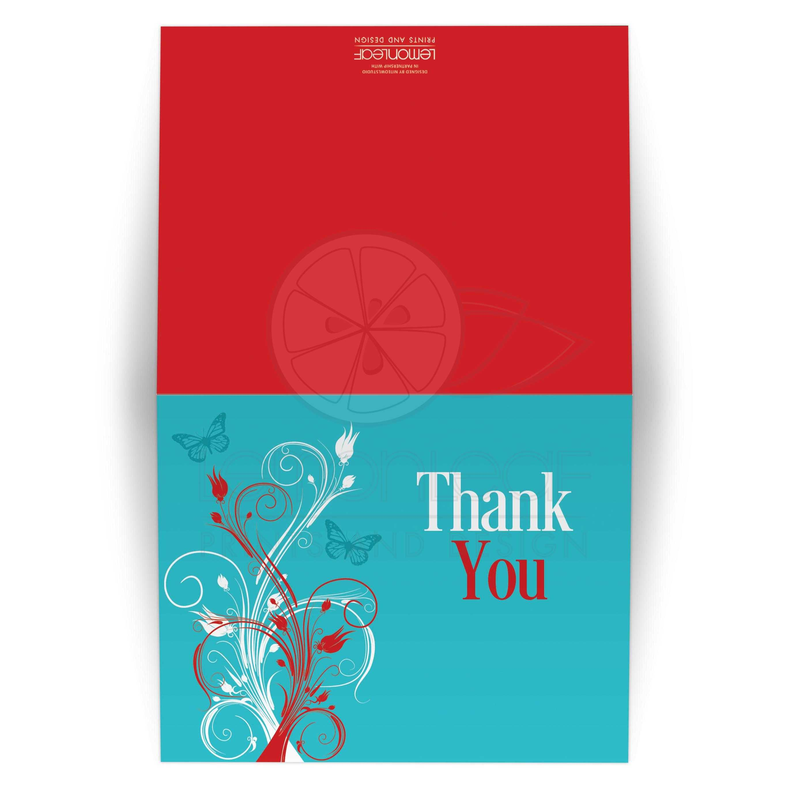 Wedding Thank You Card 2 | Turquoise, Red, White Floral, Butterflies