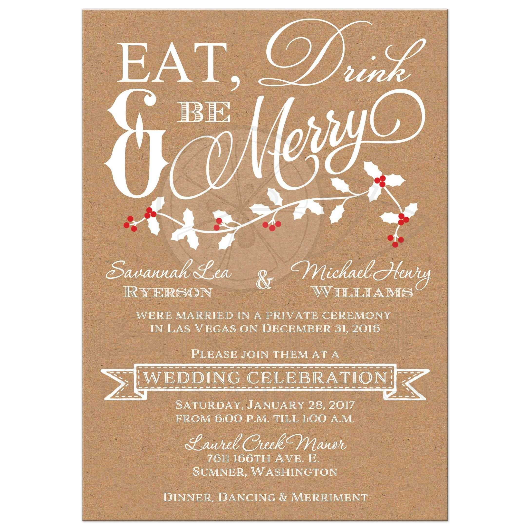 Eat, Drink And Be Merry Post Wedding Reception Invitation With Holly Leaves  And Red ...