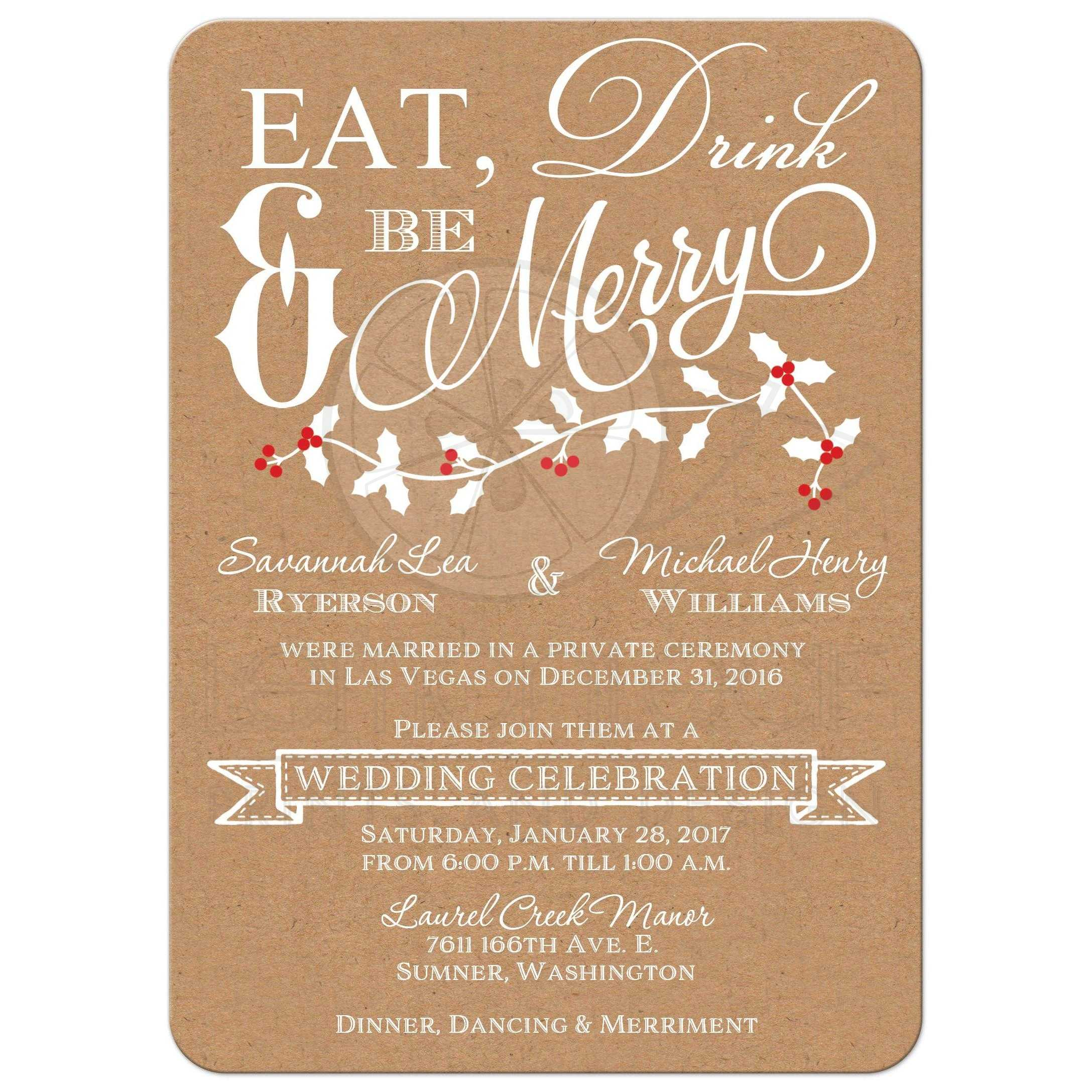 winter wedding reception invitation | eat, drink & be merry | faux, Wedding invitations