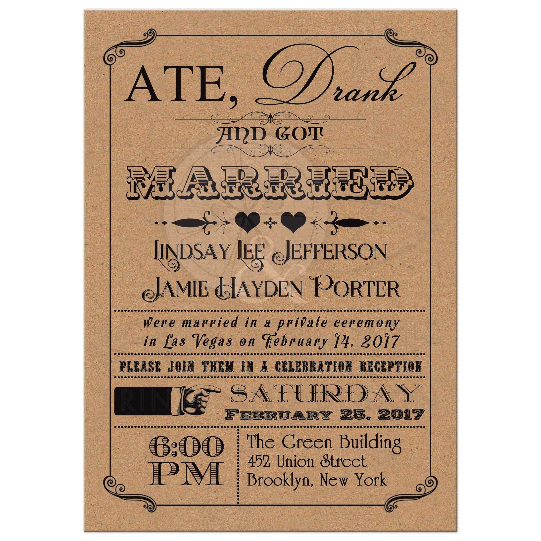 Ate Drank And Got Married Post Wedding Reception Invitation With Hearts Scrolls