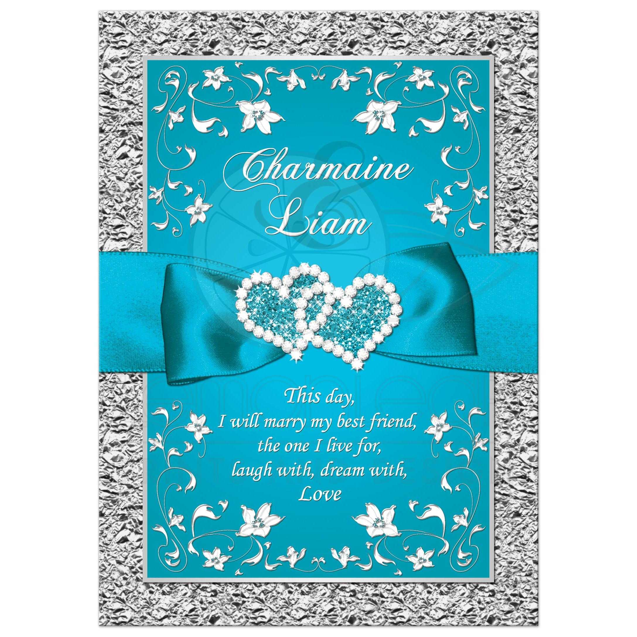 Charming Turquoise Blue And Silver Gray Floral Wedding Invite With Teal Ribbon, Bow,  And Glittery ...