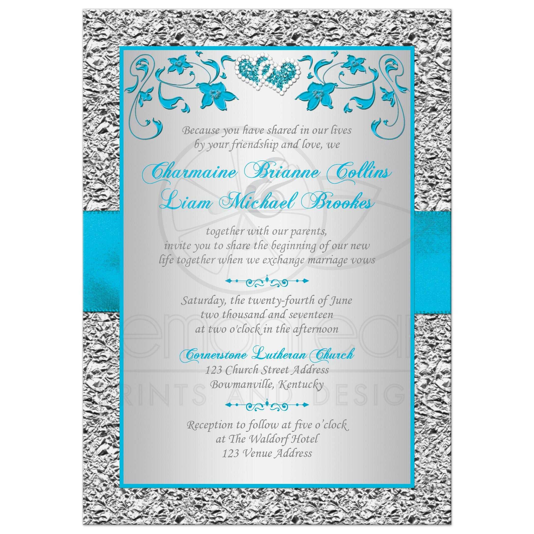 Wedding Invitation Turquoise Silver Floral FAUX Silver Foil