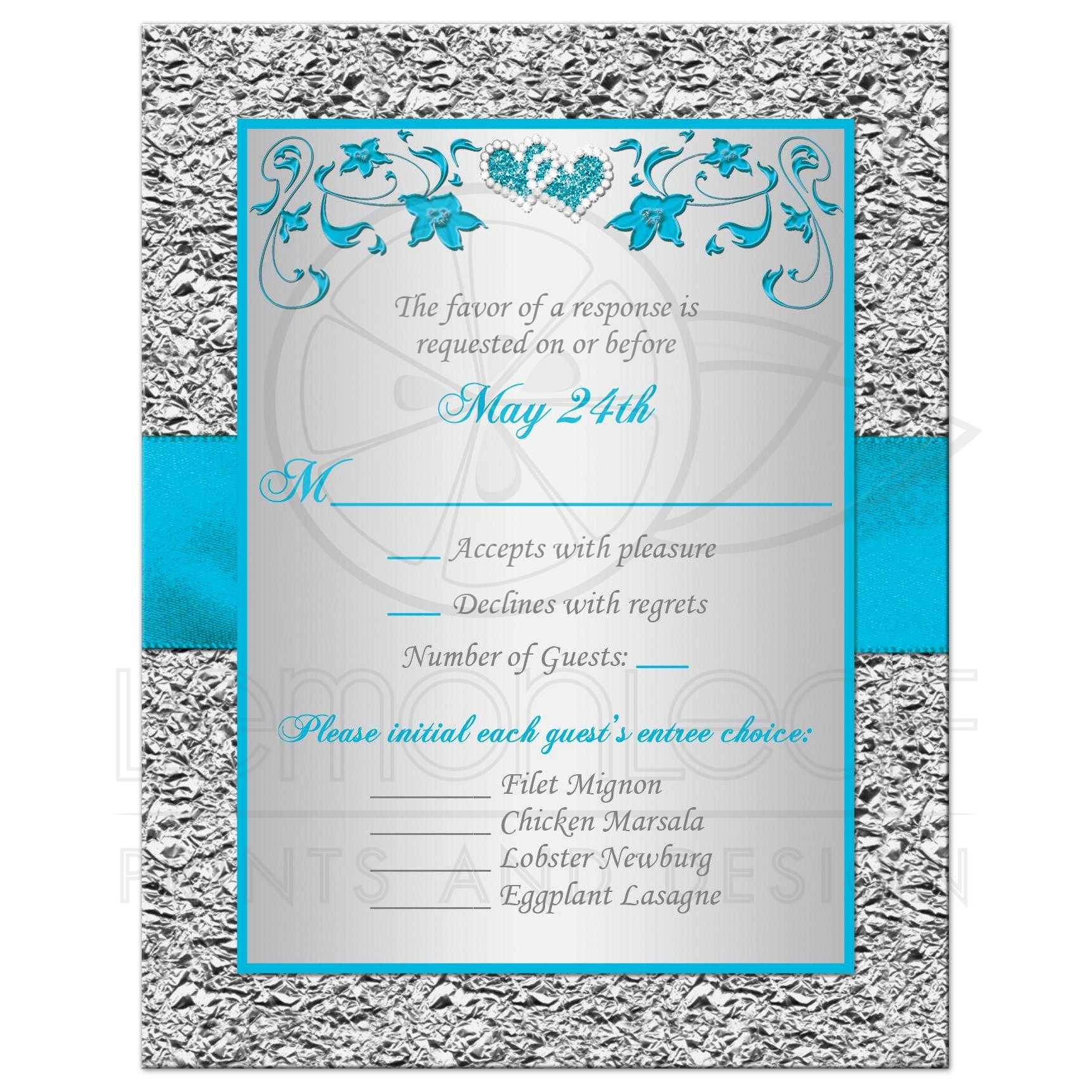 And Turquoise Blue Silver Gray Floral Wedding RSVP Cards With Teal Ribbon Bow