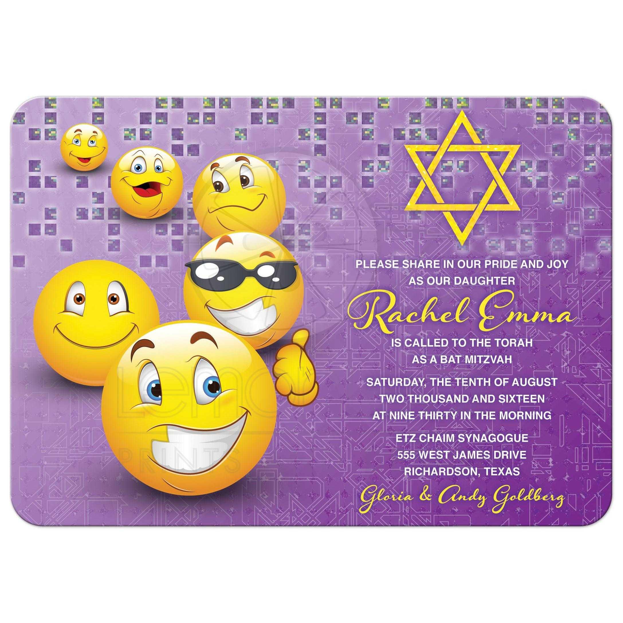 Social Media Emoticon Emoji Bat Mitzvah Invitation Purple Yellow Smiley