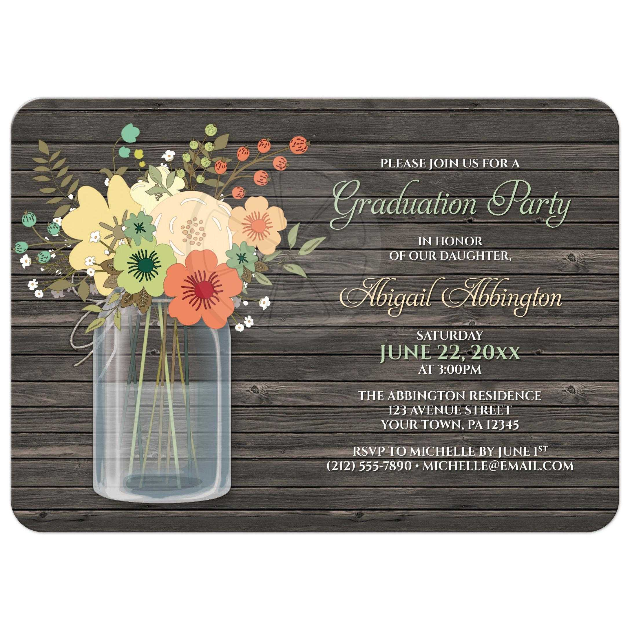 graduation party invitations rustic floral wood mason jar