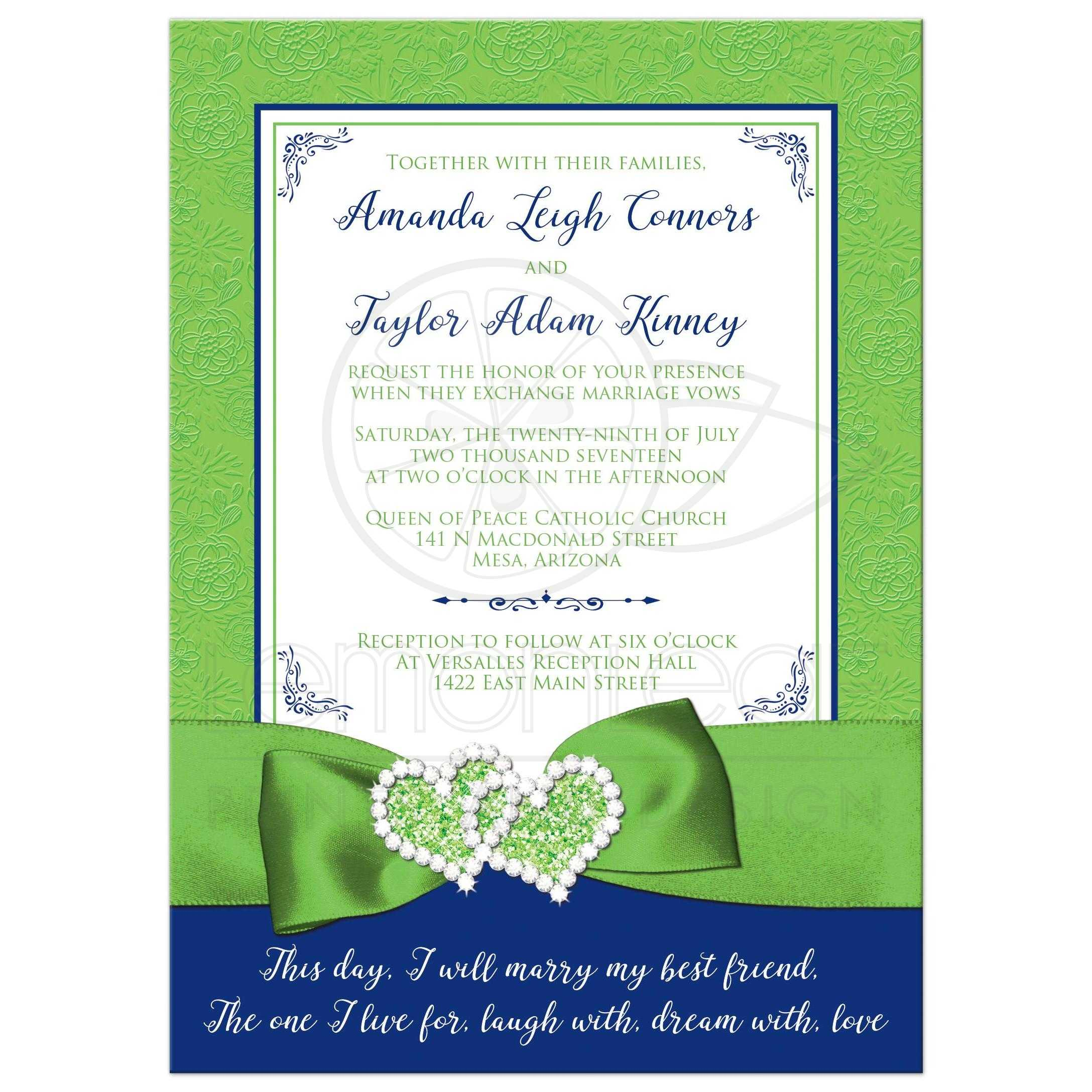 Royal Blue, Lime Green, And White Floral Pattern Wedding Invitations With  Ribbon, ...