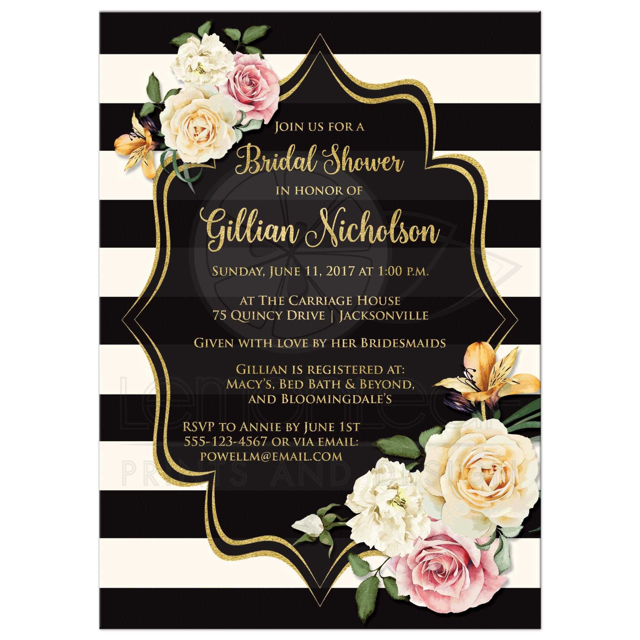 Bridal Shower Invitation Black Ivory Stripes Vintage Floral