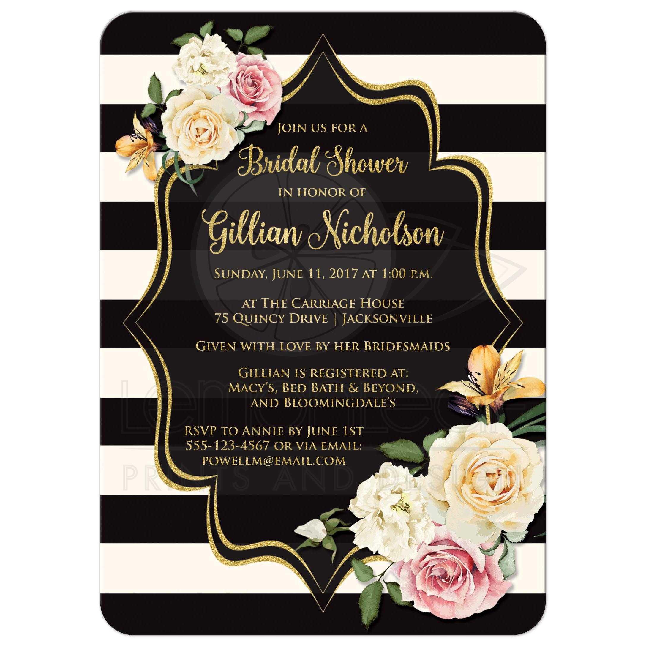 Bridal Shower Invitation | Black, Ivory Stripes | Vintage Floral, Simulated Gold Foil