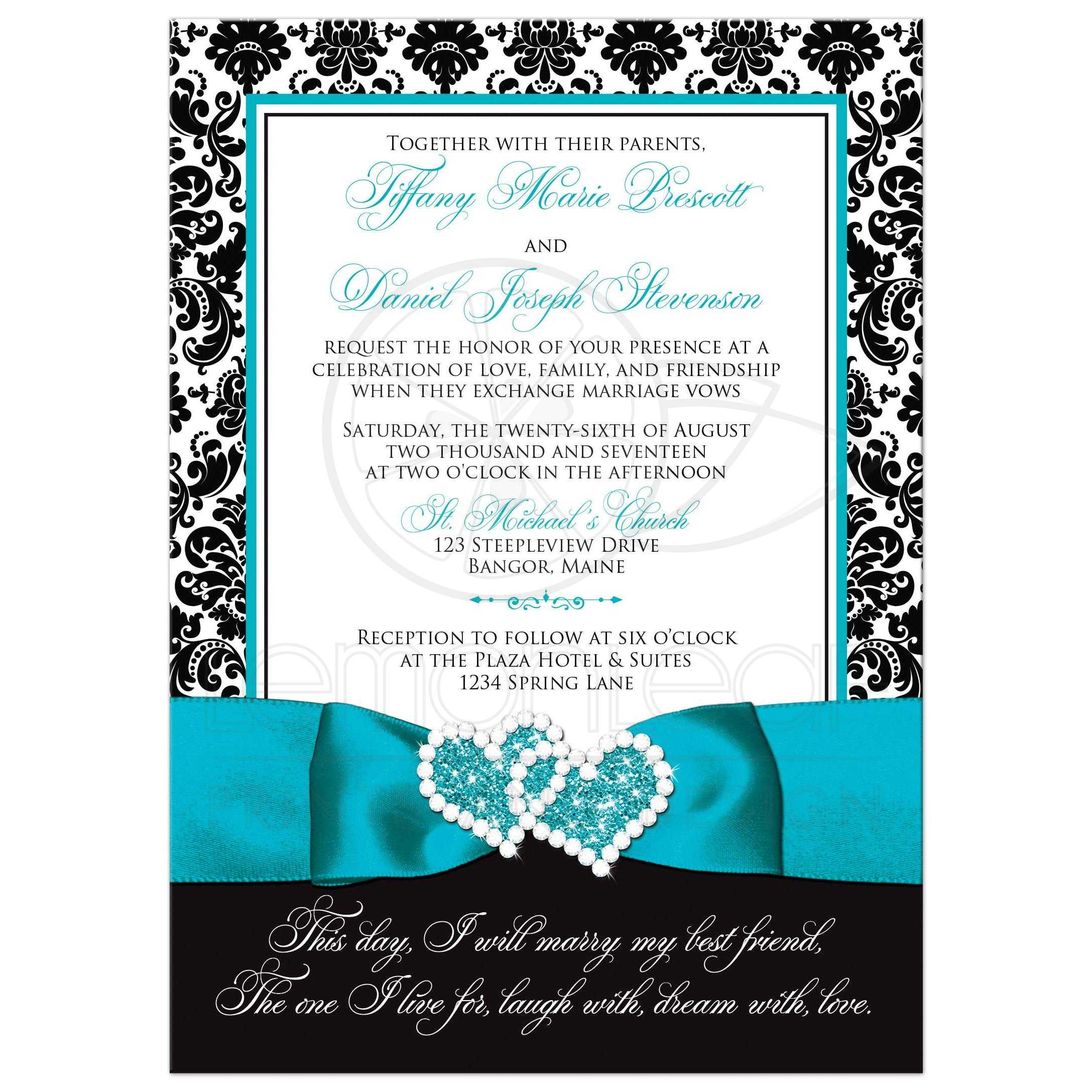 Wedding Invitation Photo Optional Black And White Damask Printed Turquoise Ribbon Double Hearts