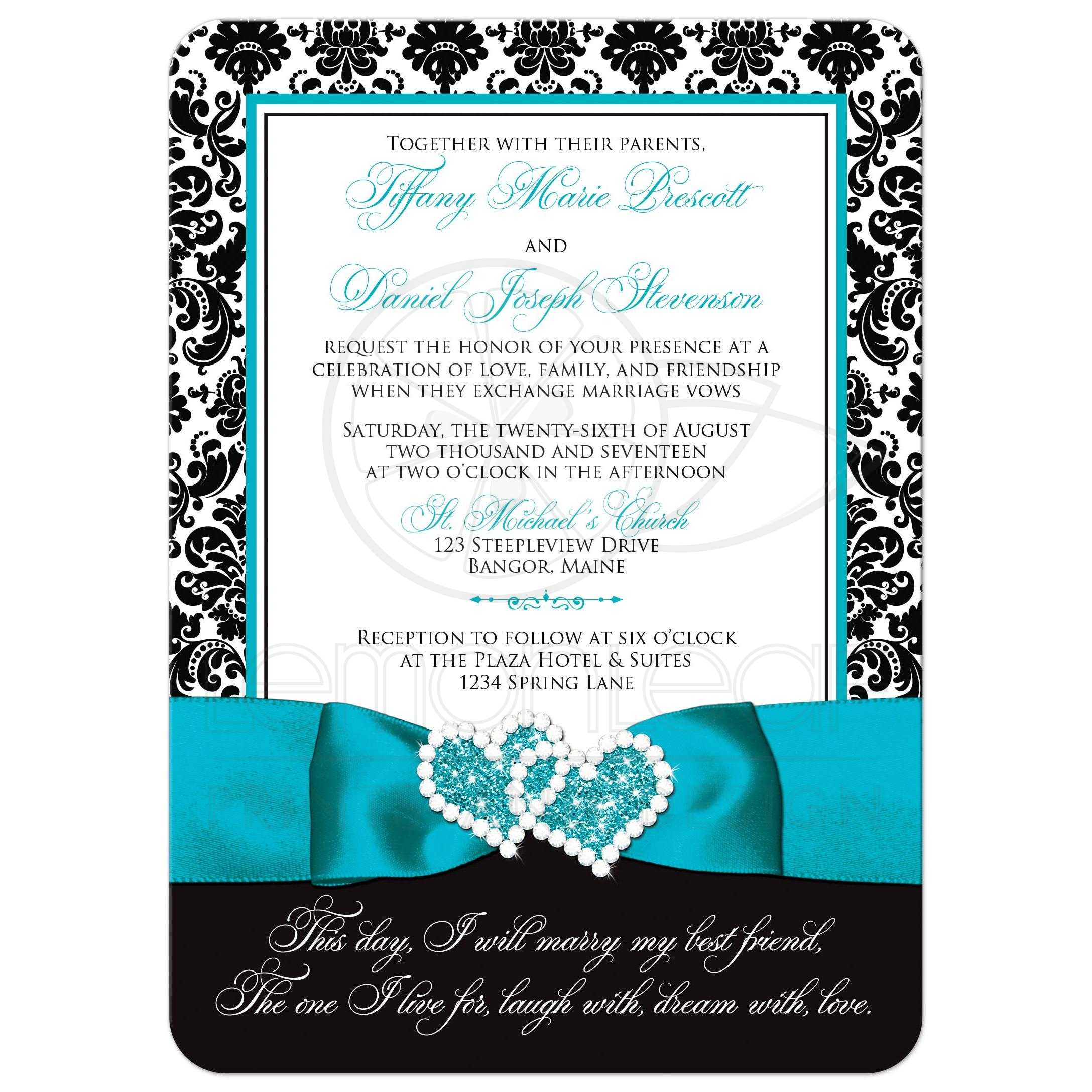 Wedding Invitation - PHOTO Optional | Black and White Damask ...