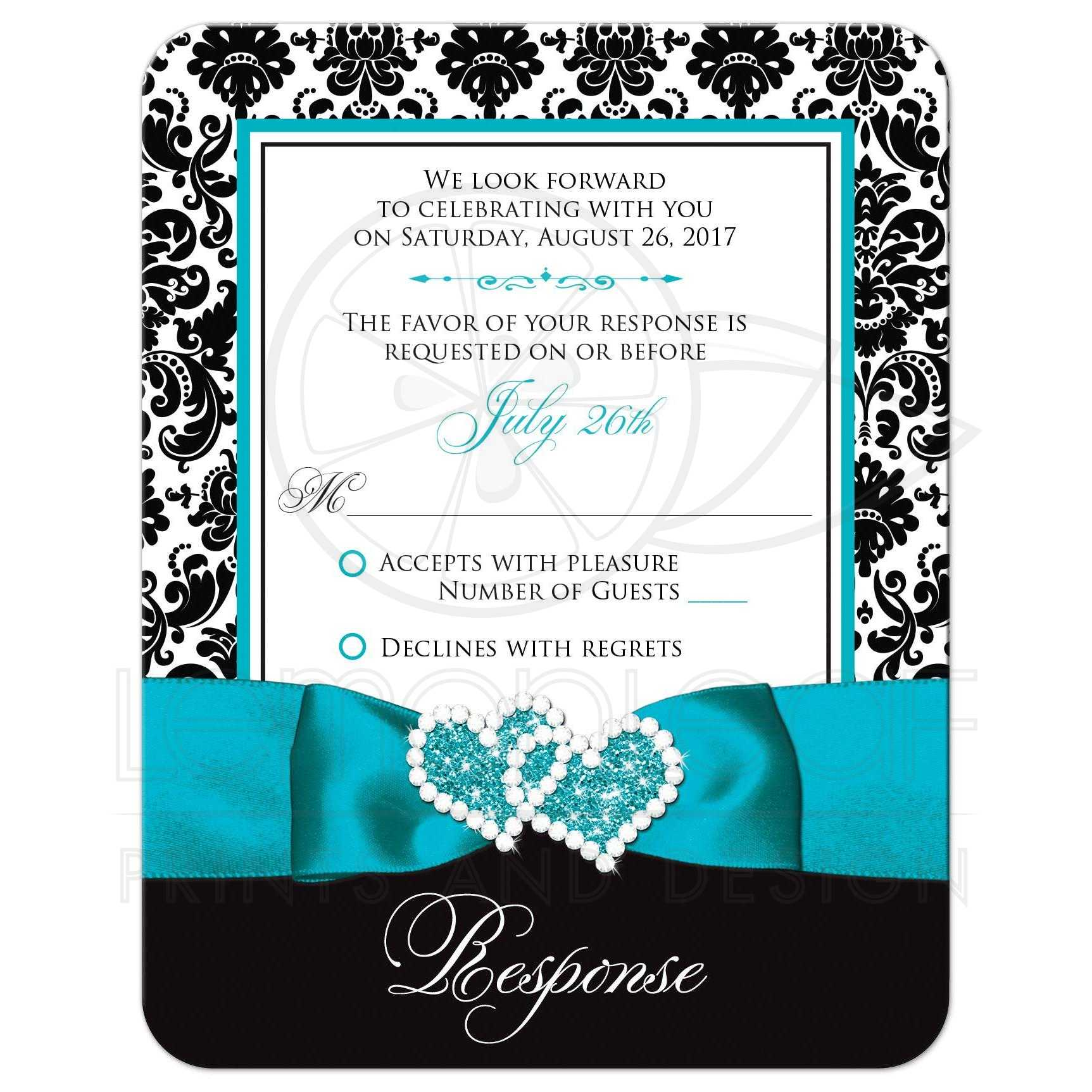 Wedding Response Card | Black and White Damask | PRINTED Turquoise Ribbon &  Double Hearts