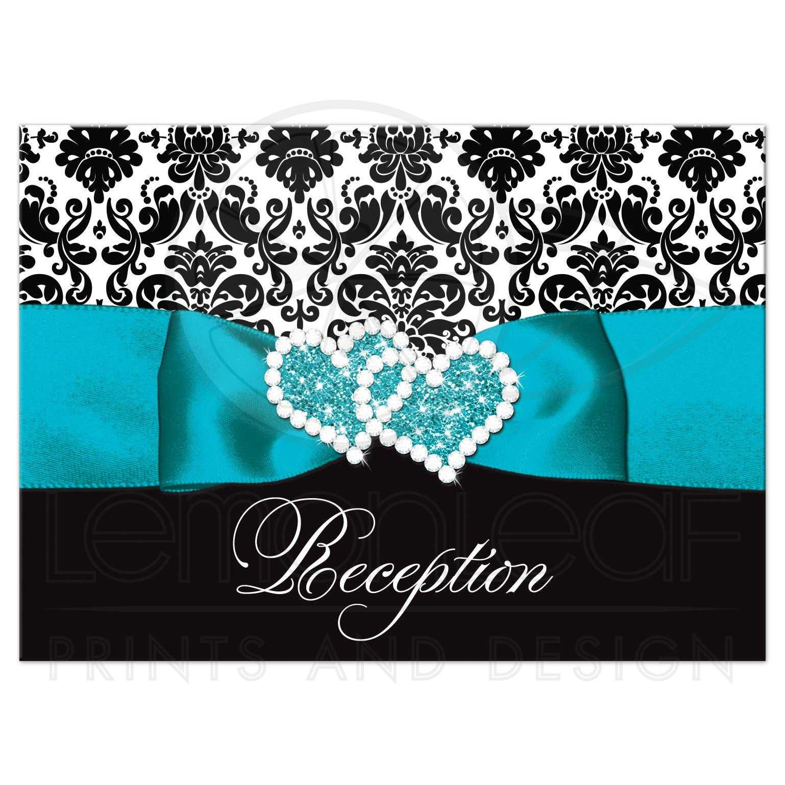 Wedding Reception Enclosure Card Black And White Damask Printed