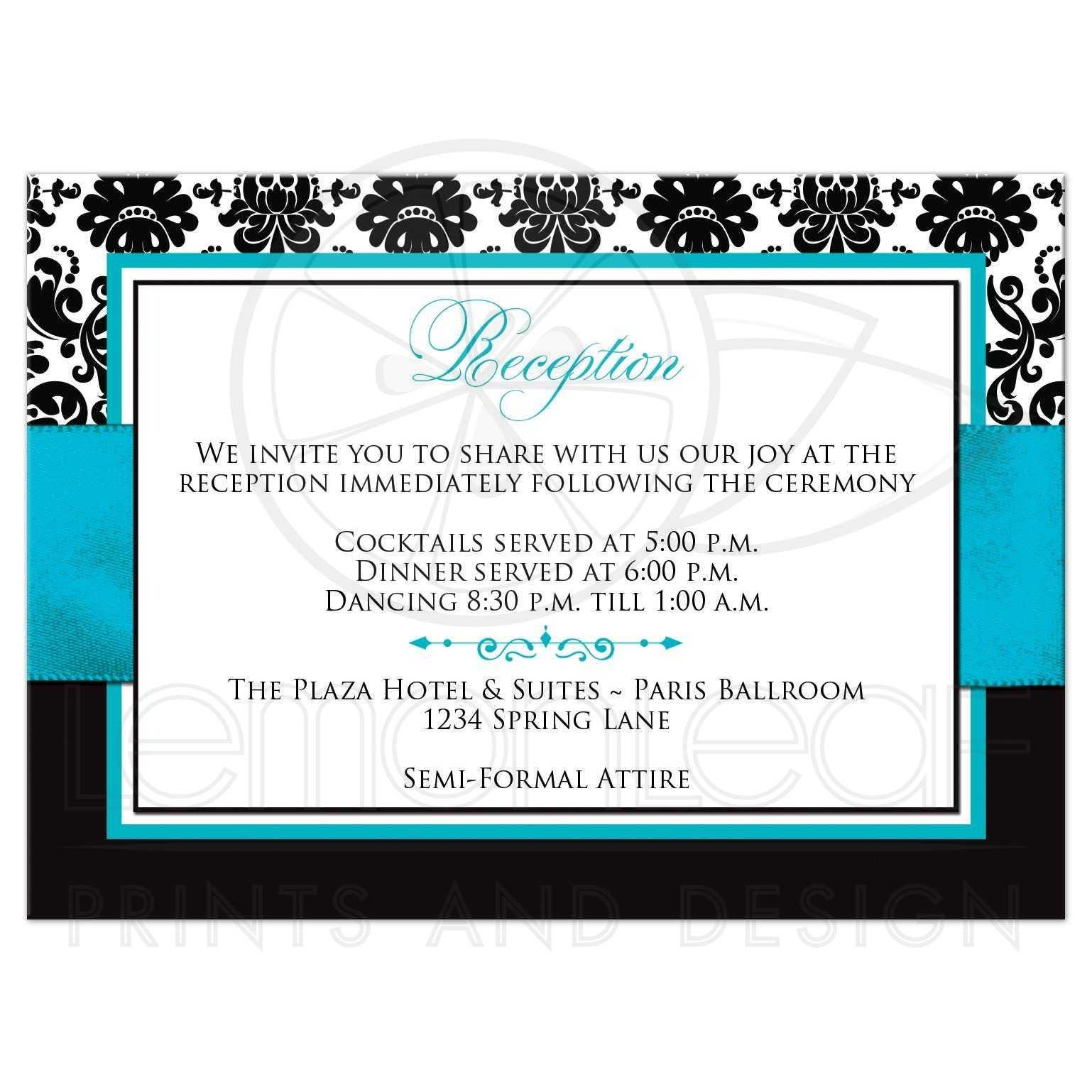 Wedding Reception Enclosure Card 2 | Black and White Damask | PRINTED  Turquoise Ribbon