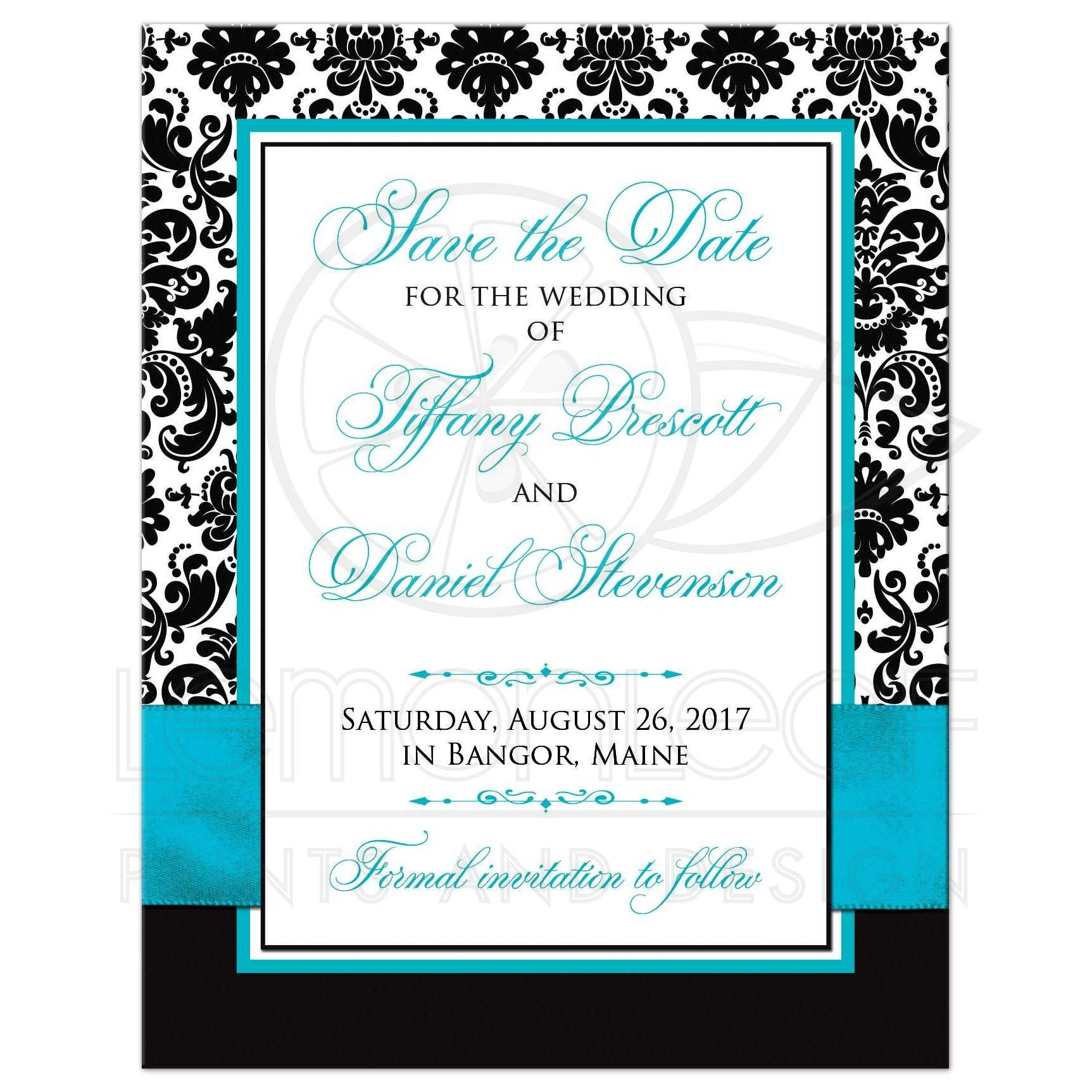 PHOTO Wedding Save the Date Card | Black and White Damask | PRINTED ...