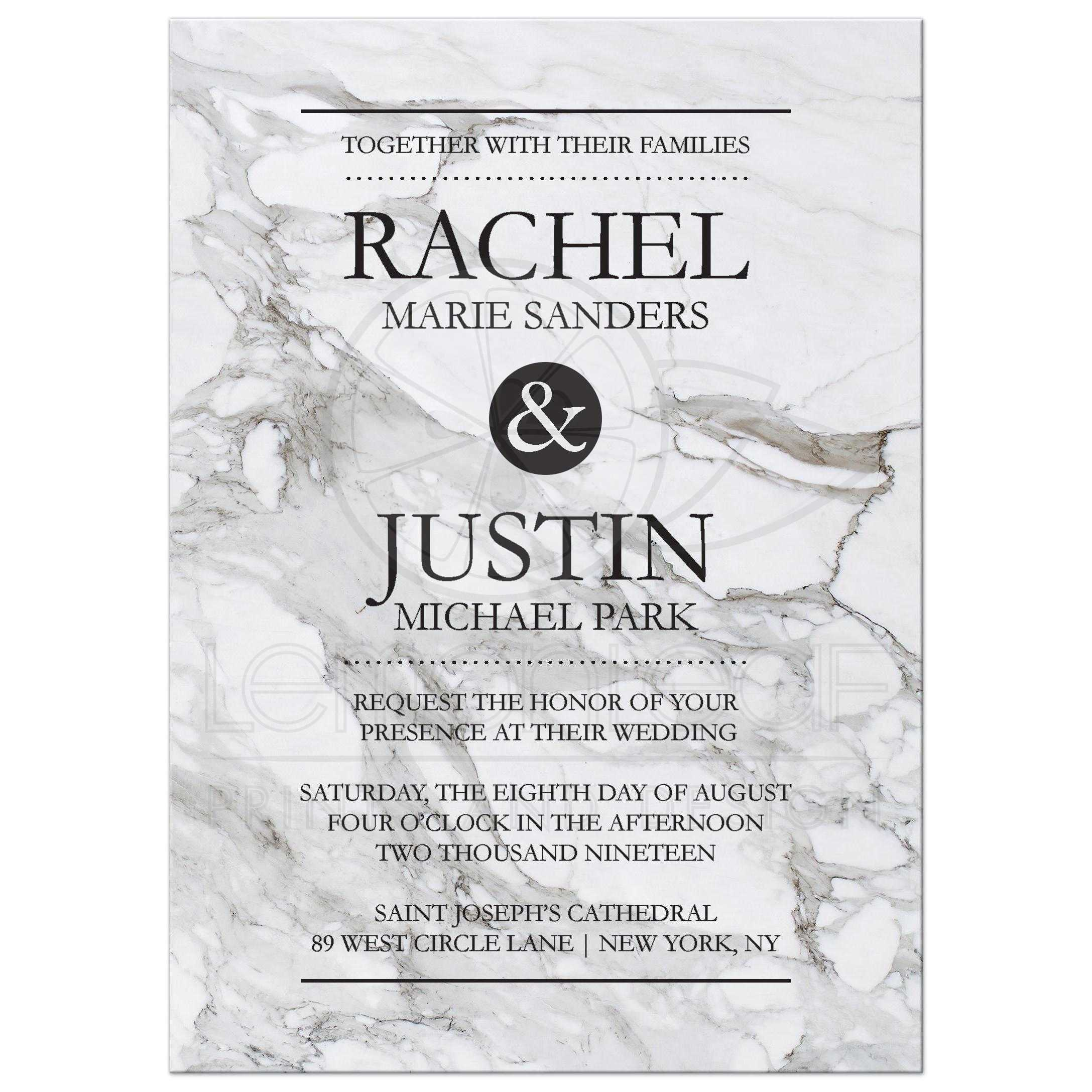 Modern Marble Design Wedding Invitation