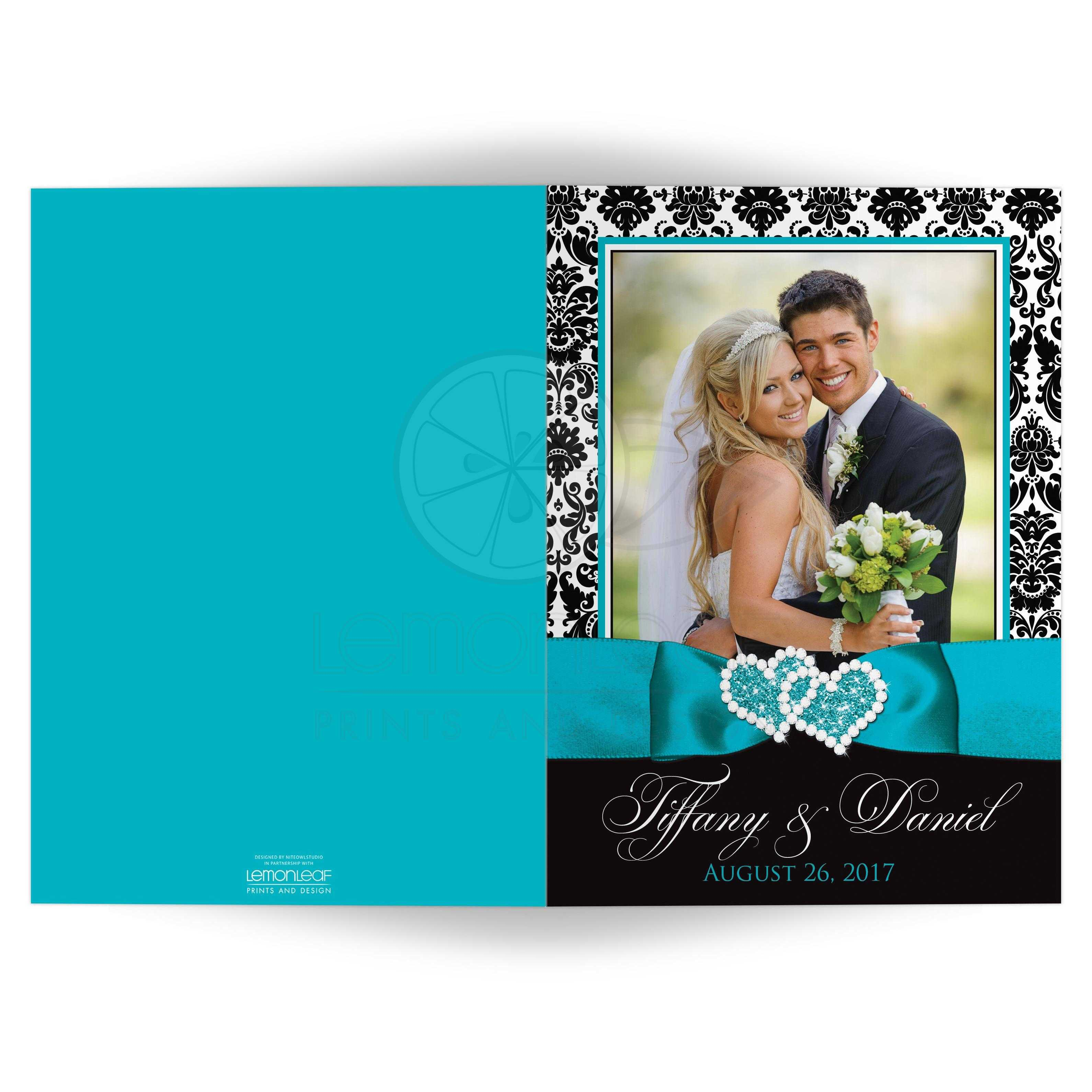 Photo wedding thank you card black and white damask printed personalized turquoise black and white damask pattern double photo template wedding thank you card junglespirit Choice Image