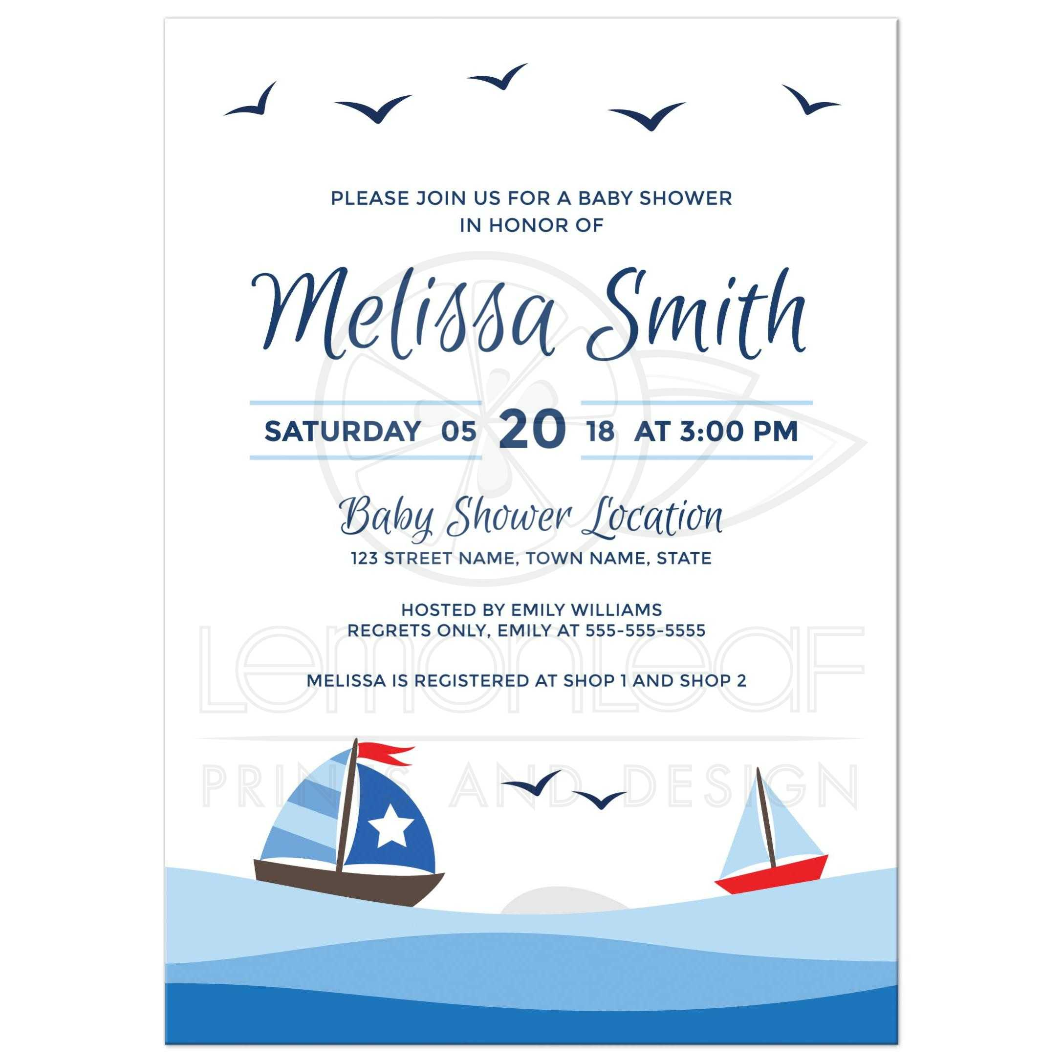 Nautical baby shower invitation with cute sailboats, waves and birds ...