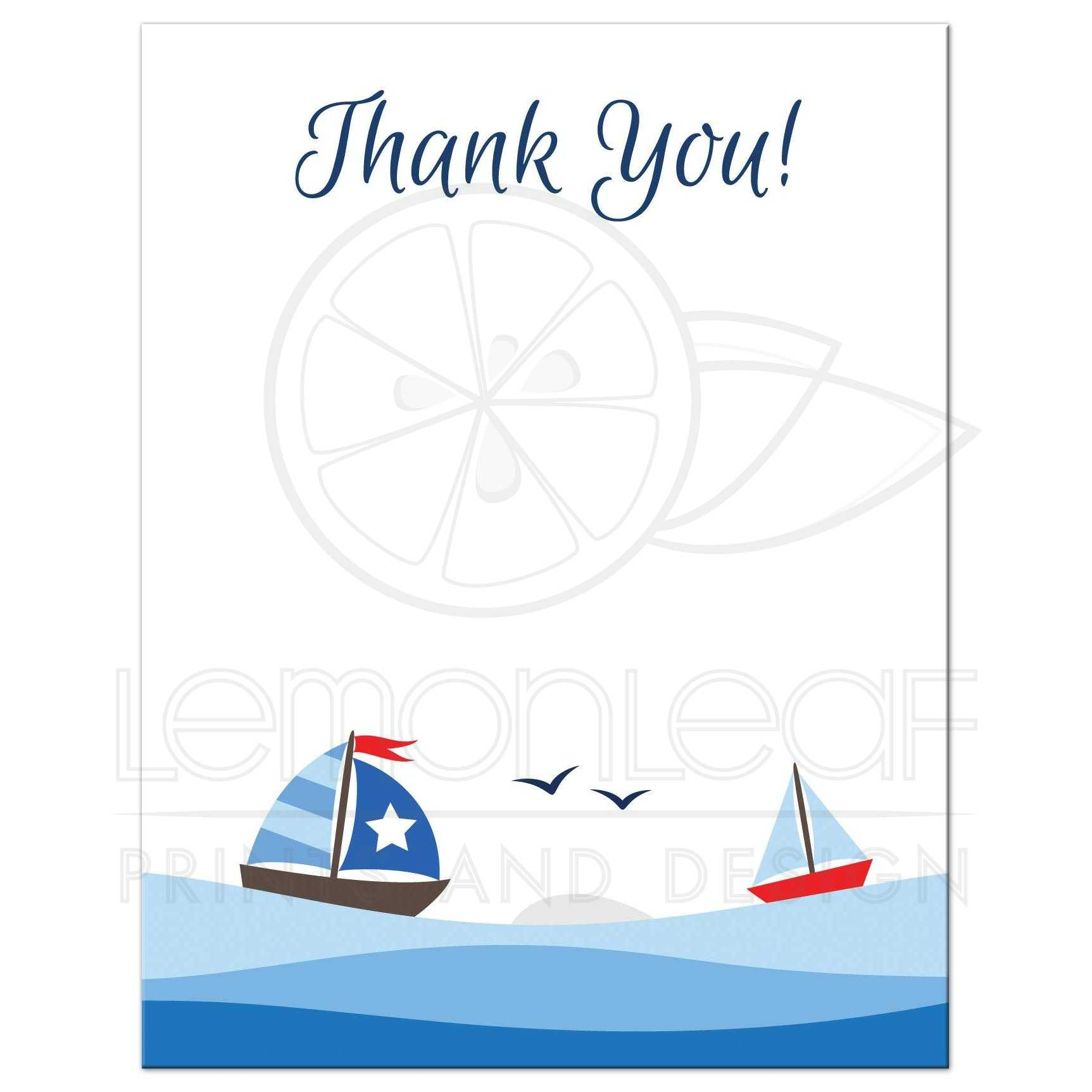 Nautical flat thank you notecard with cute sailboats, waves and ...