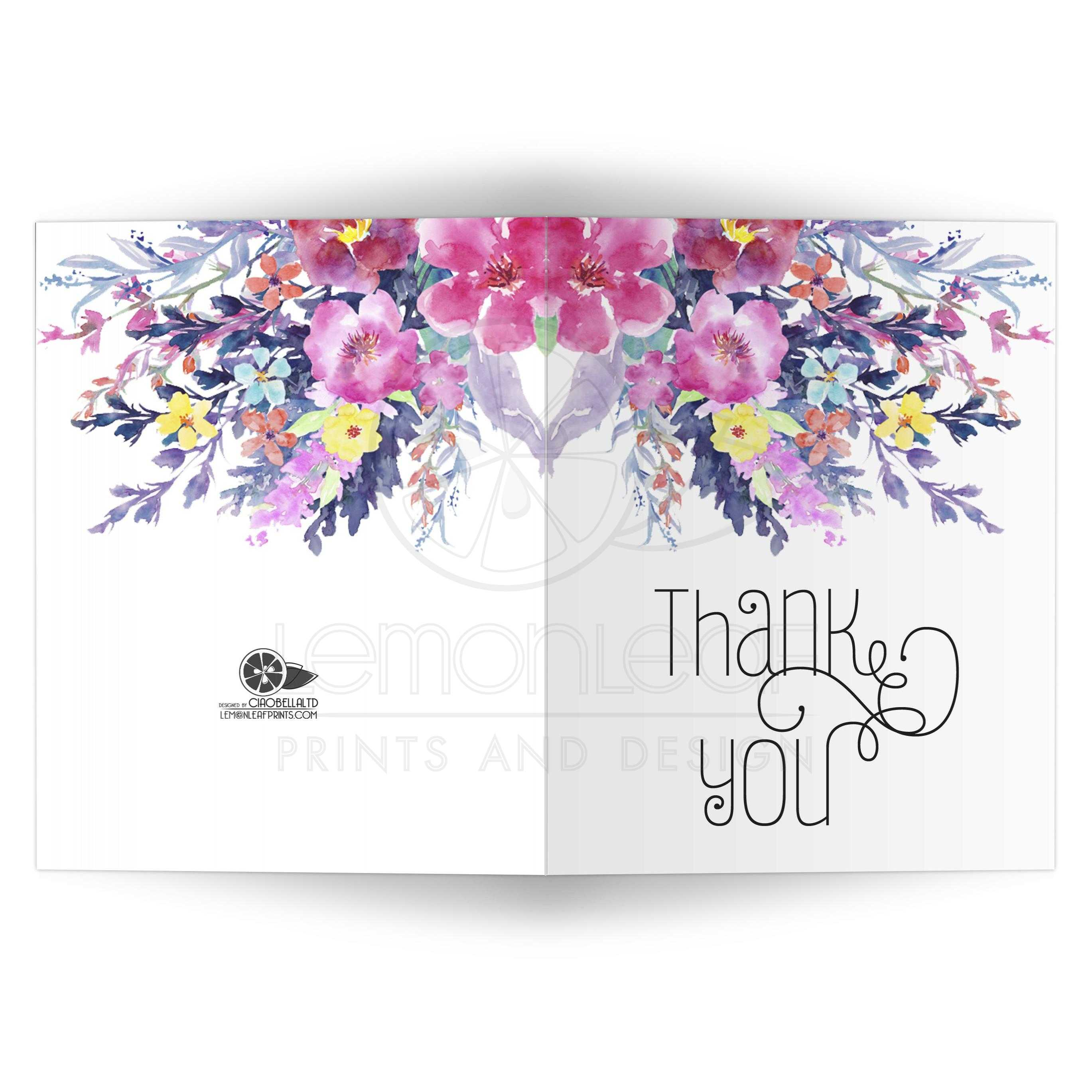 modern pastel watercolor floral thank you card