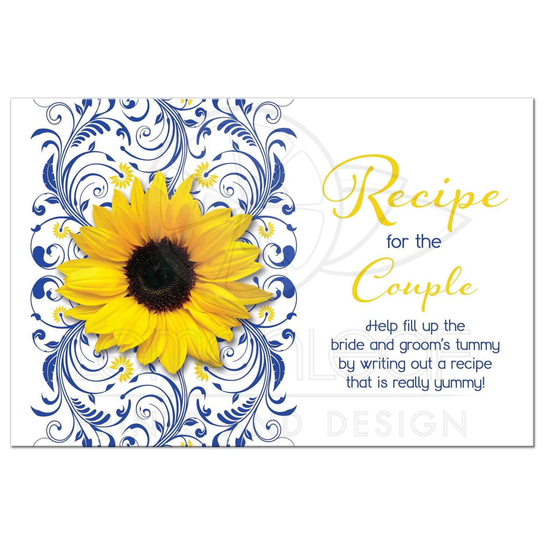 cobalt blue and white floral yellow sunflower couples bridal shower recipe card