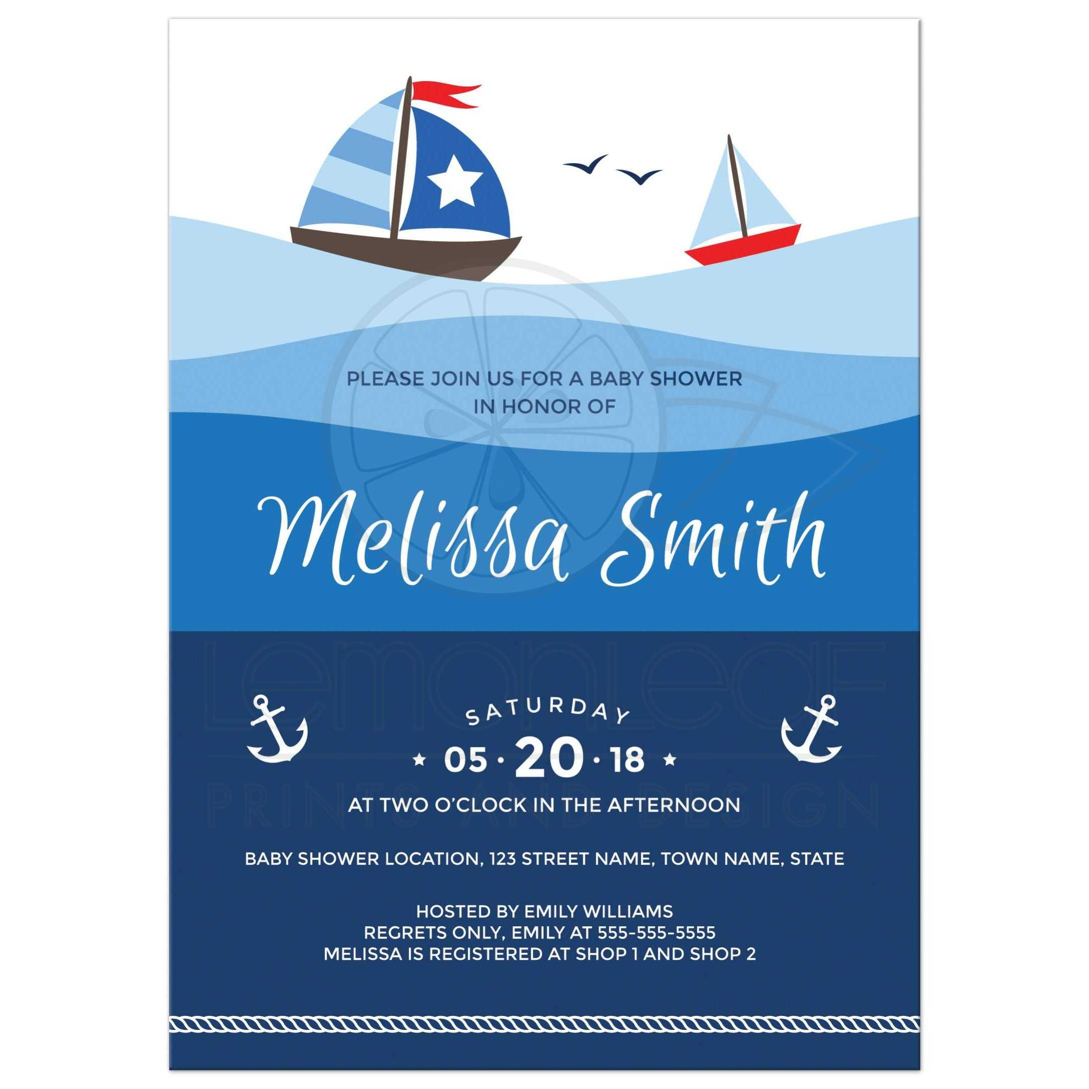 Nautical baby shower invitation with sailboats on big, ombre ocean waves