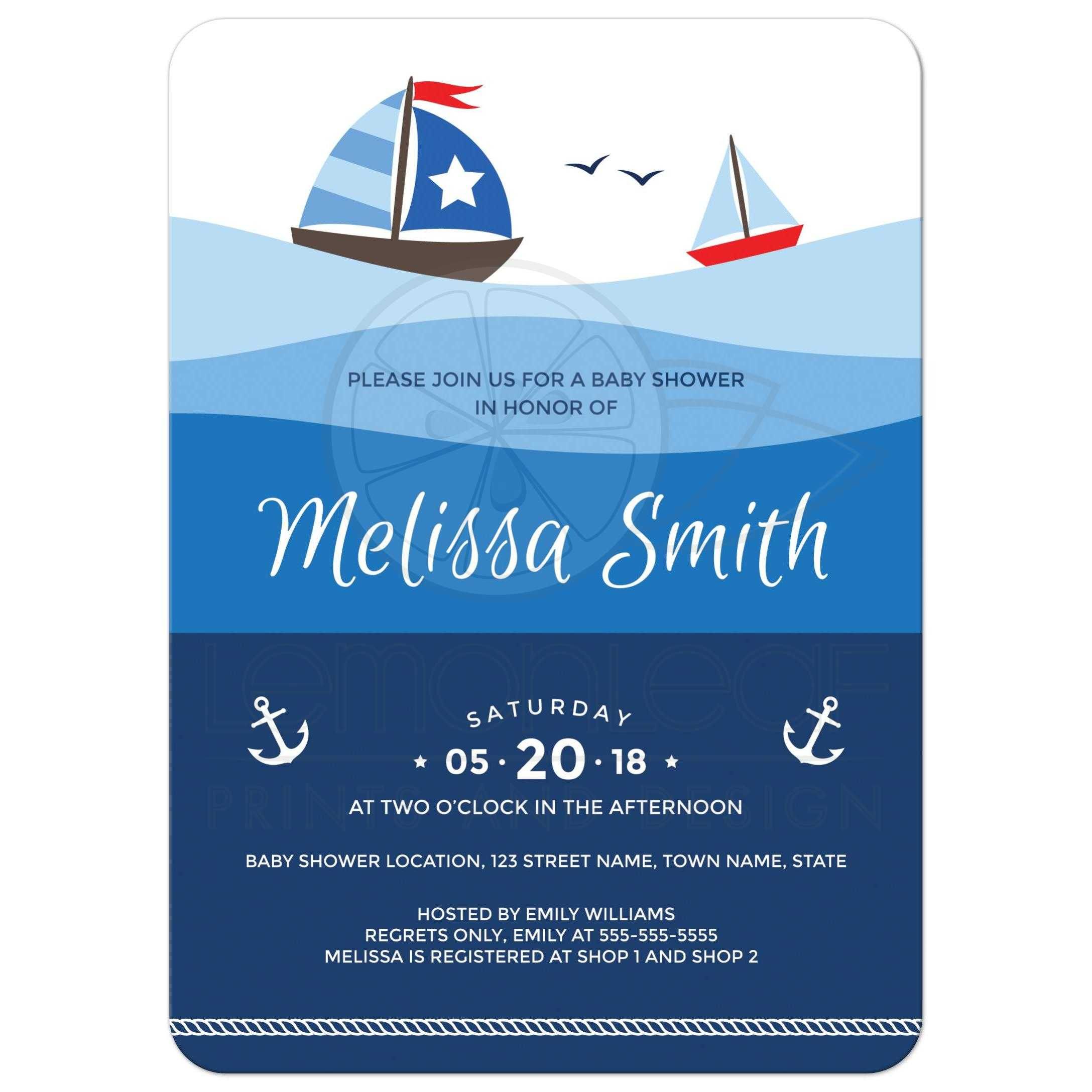 Nautical baby shower invitation with sailboats on big ombre ocean waves sailboat baby shower invitation with boats anchor and rope border filmwisefo Images