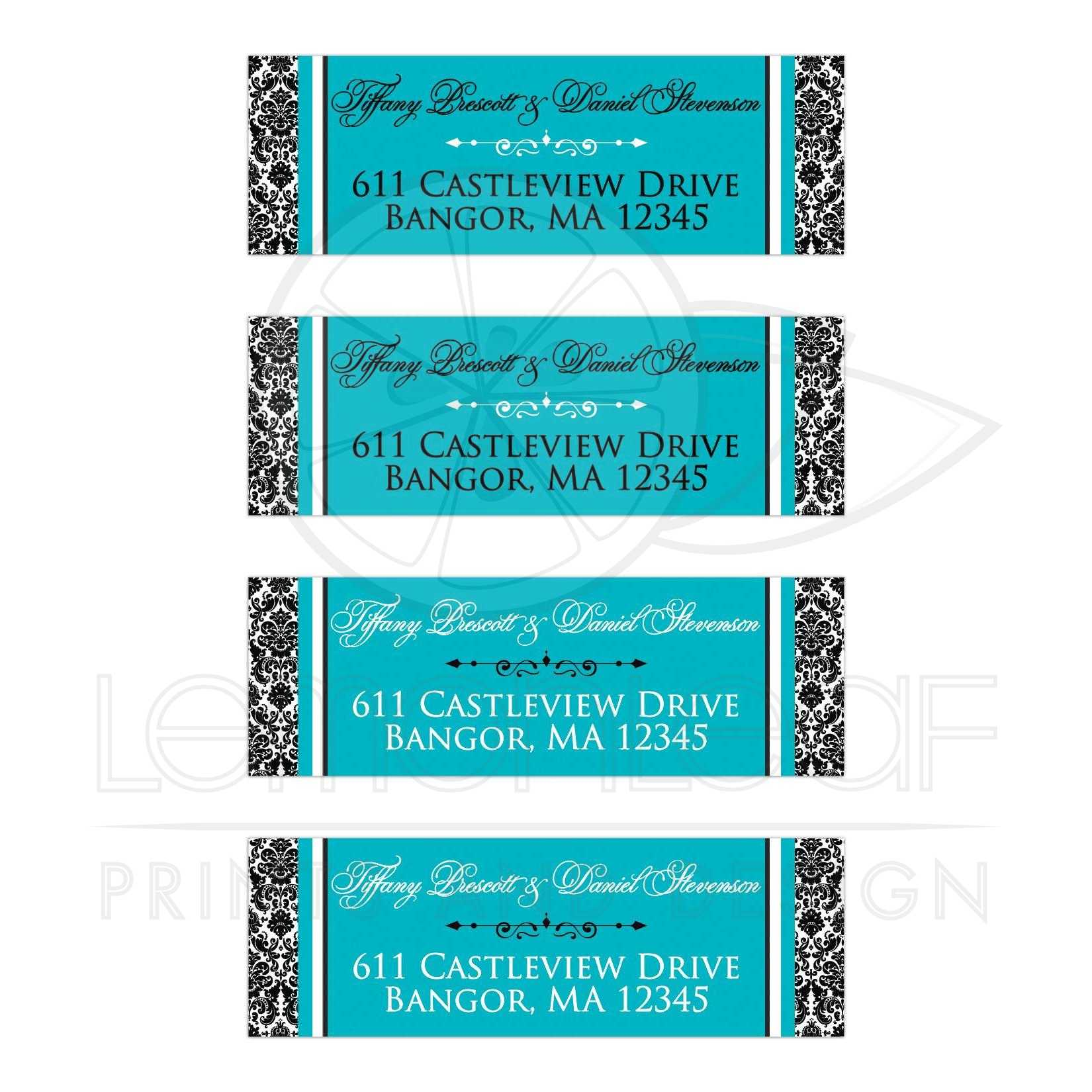 address labels 4 black and white damask turquoise ornate scroll