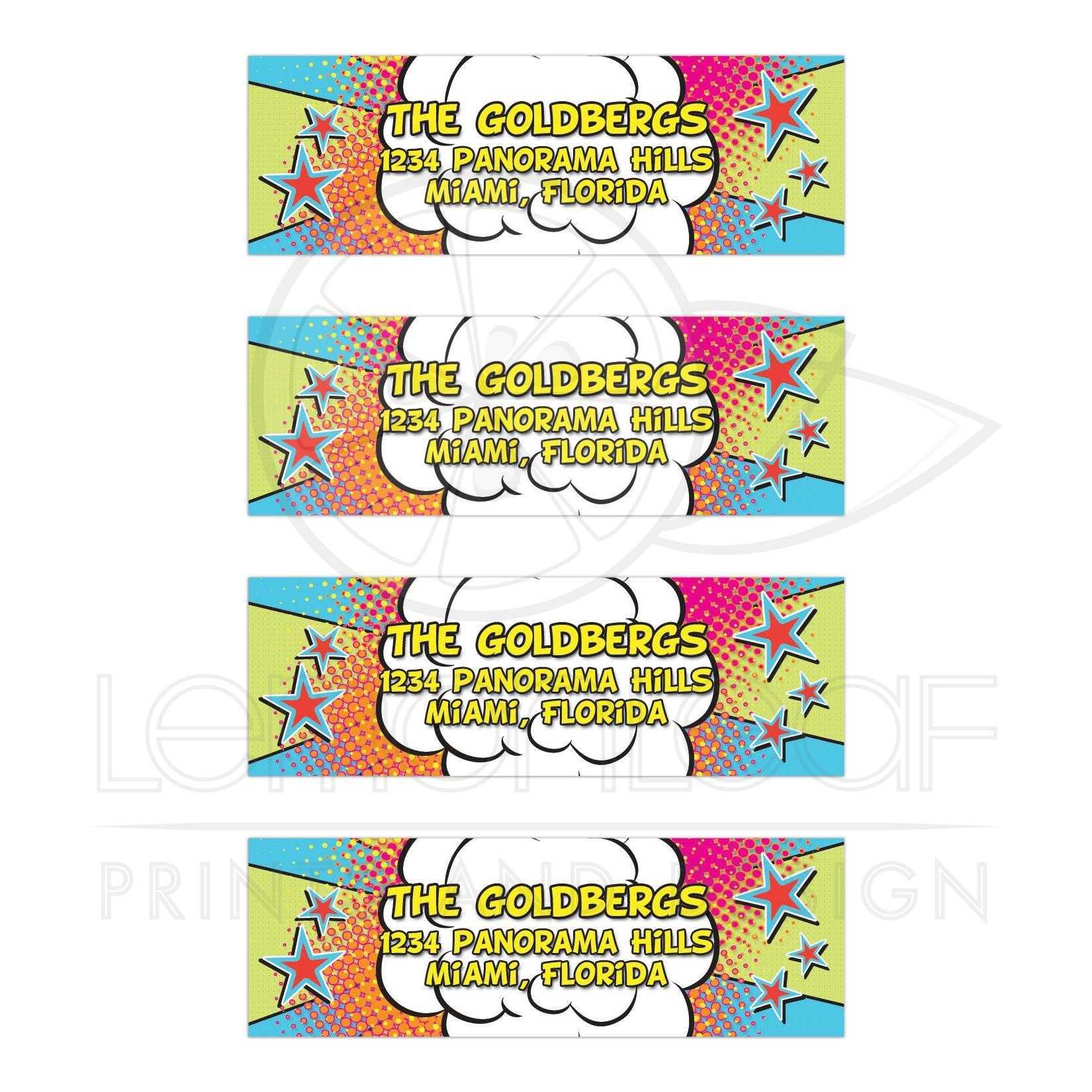 comics comic book bar mitzvah address labels