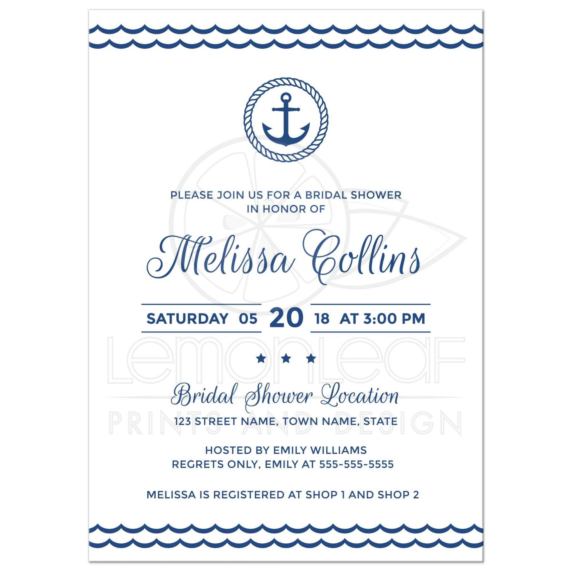 Nautical bridal shower invitation with anchor inside rope circle ...