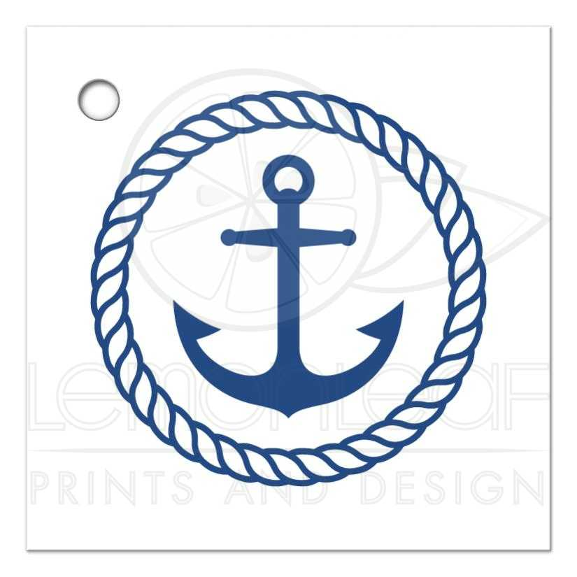 Nautical bridal shower favor thank you tag with anchor